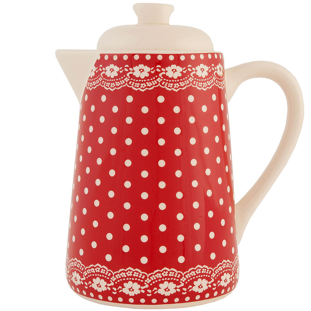 Ceainic Din Ceramica Rosie Cu Buline