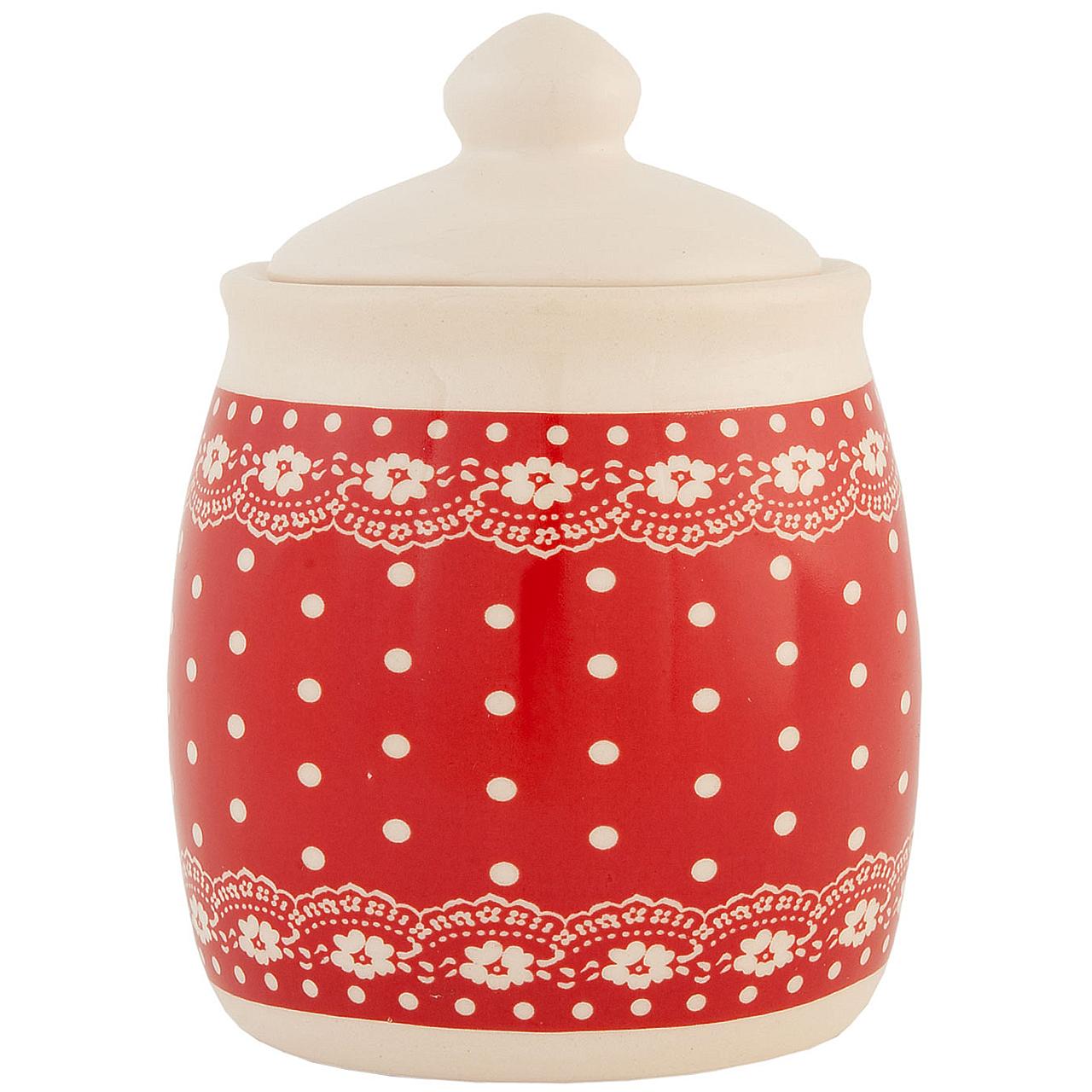 Recipient Pentru Zahar Din Ceramica Rosie Cu Bulin