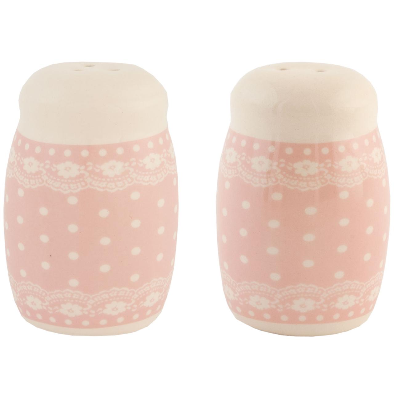 Set Cu Solnita Si Pipernita Din Ceramica Roz Cu Bu