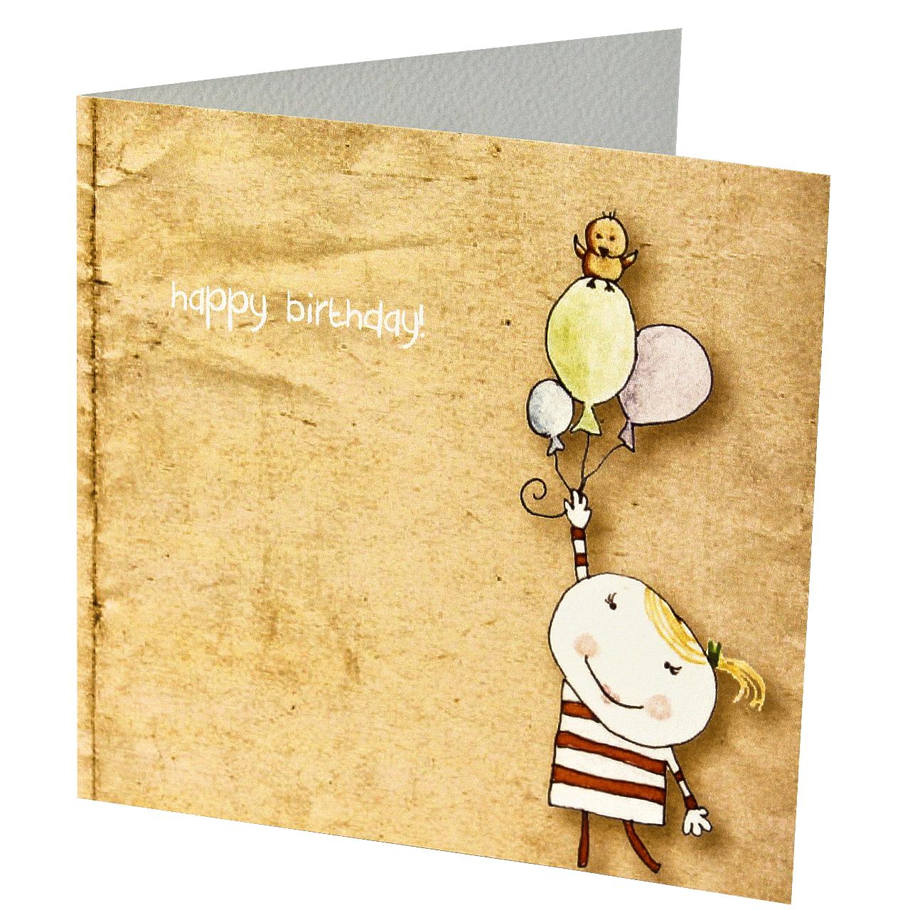 Felicitare Din Carton Cu Fetita Si Baloane