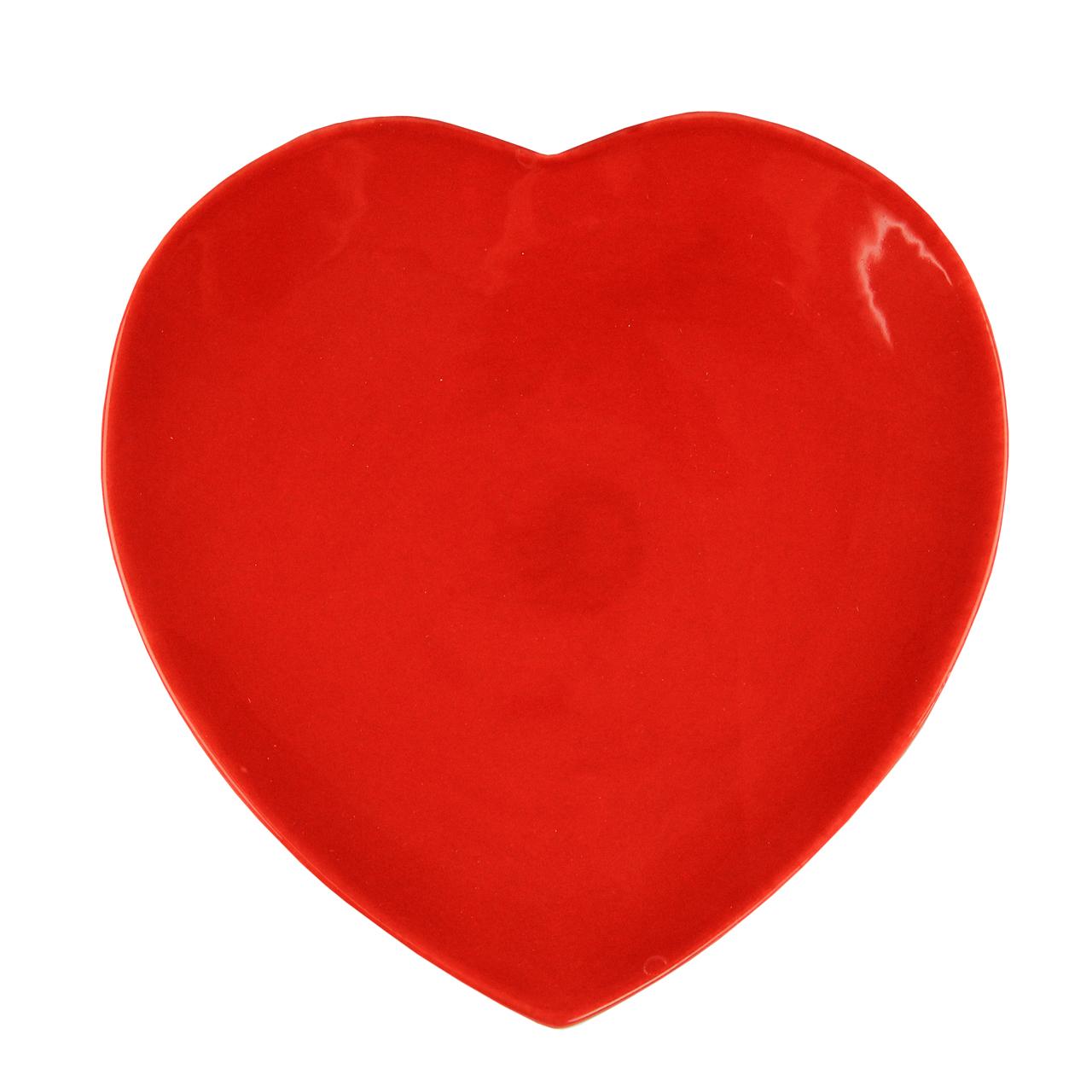 Farfurie Heart Din Ceramica Rosie 22 Cm