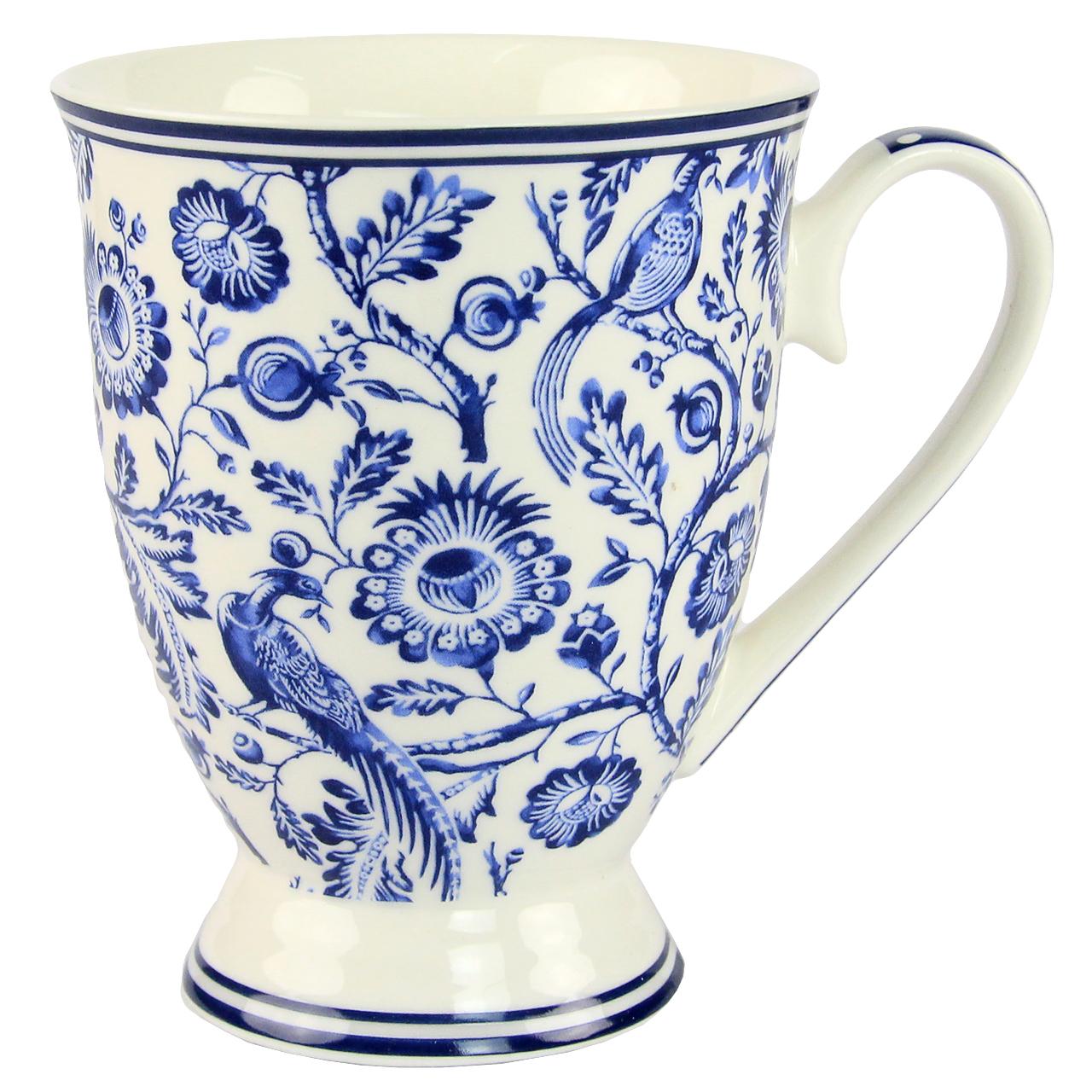 Cana Din Ceramica Alba Cu Albastru