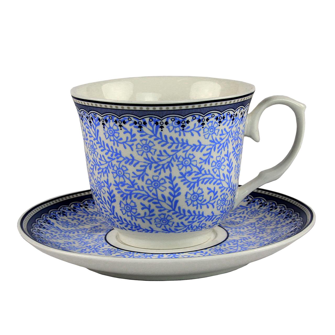 Ceasca Cu Farfurie Din Ceramica Alba Cu Albastru