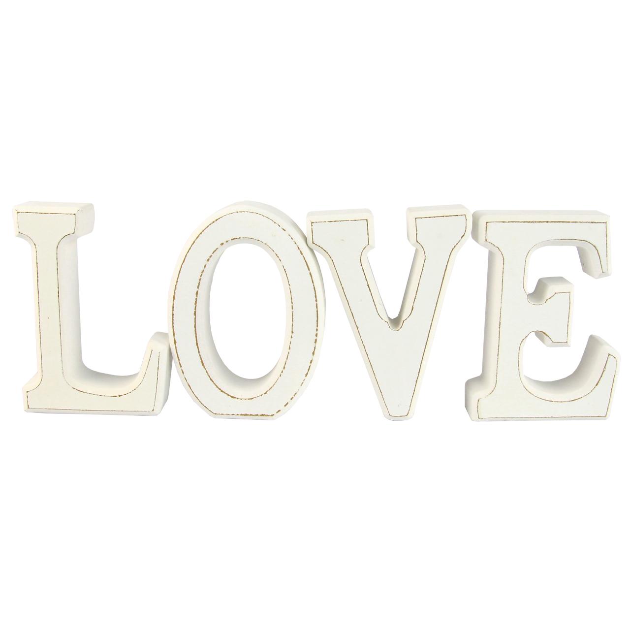 Litere Decorative Love Din Lemn Alb