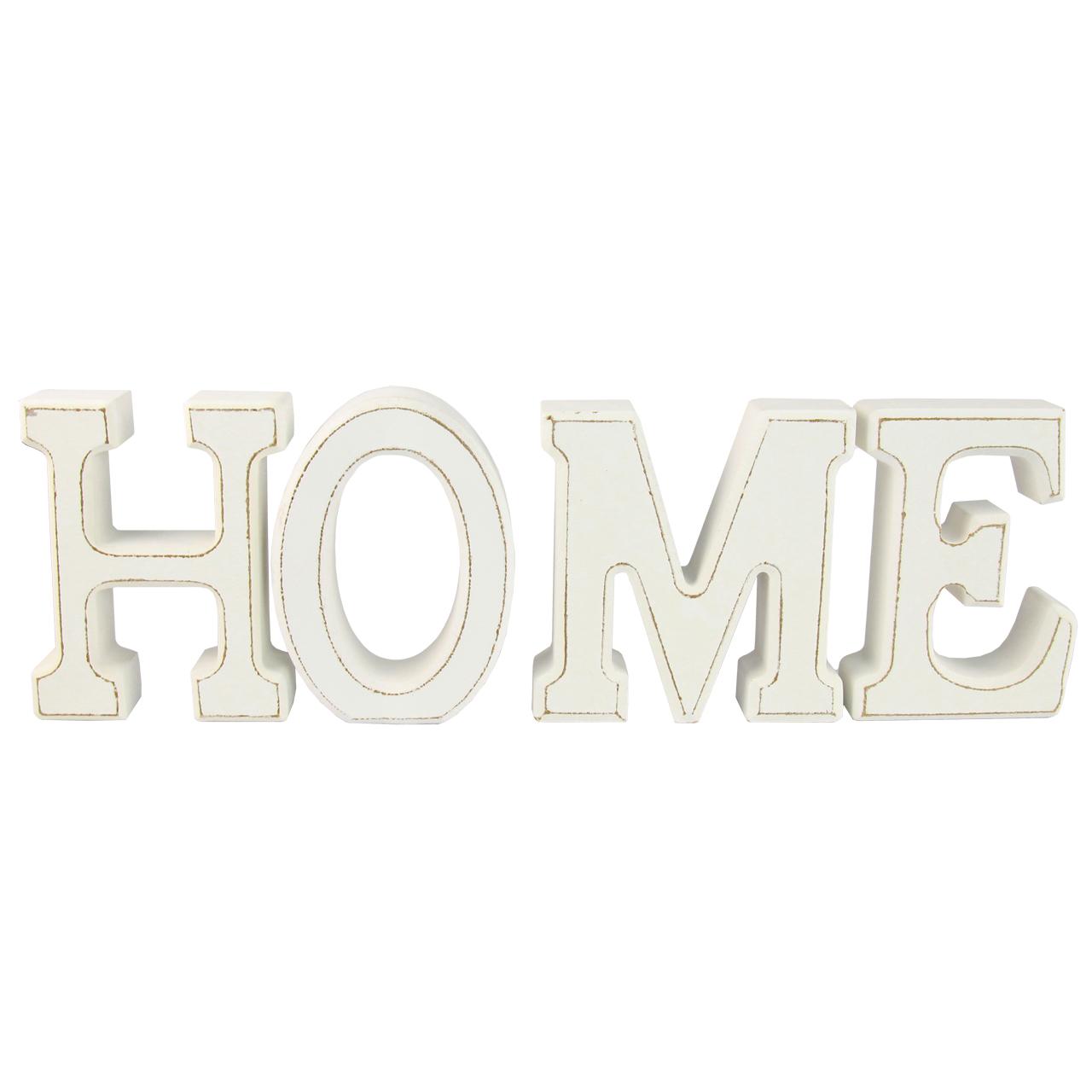 Litere Decorative Home Din Lemn Alb