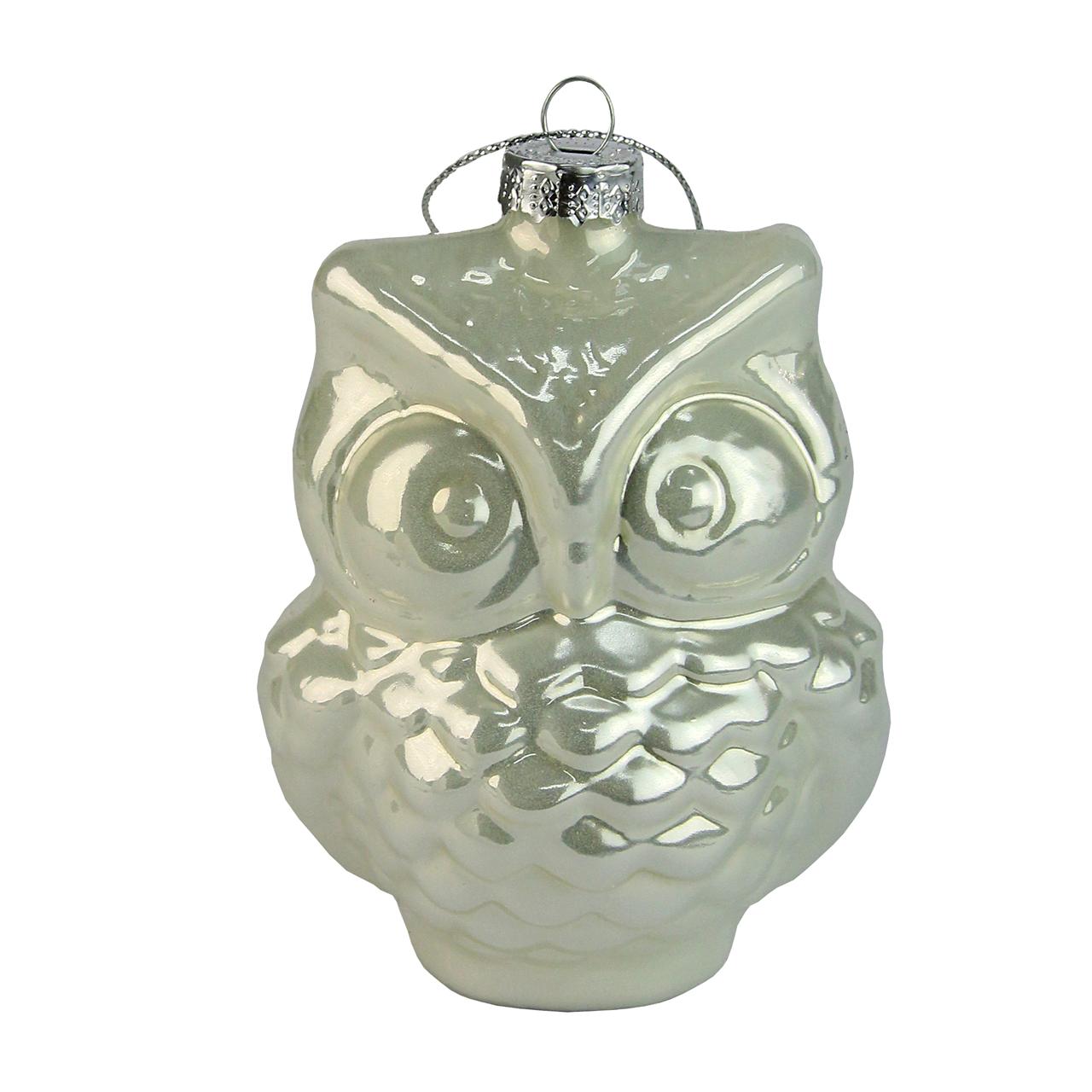 Decoratiune Glob Cu Bufnita Din Sticla Argintie