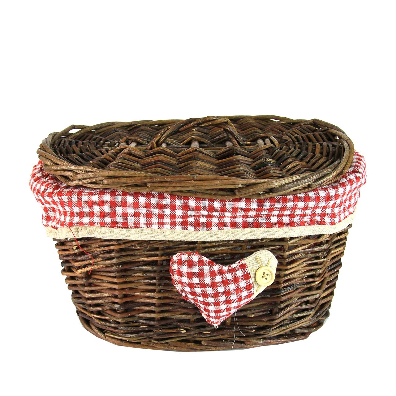 Cos Oval Cu Capac Si Inima Din Rachita Si Textil 2
