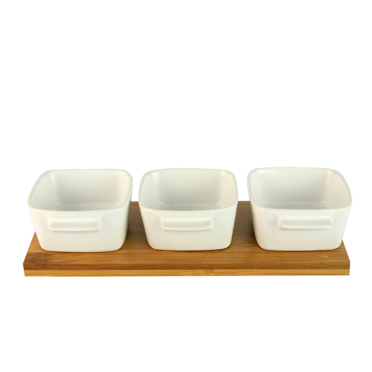 Tava Din Bambus Cu 3 Recipiente Din Ceramica Alba