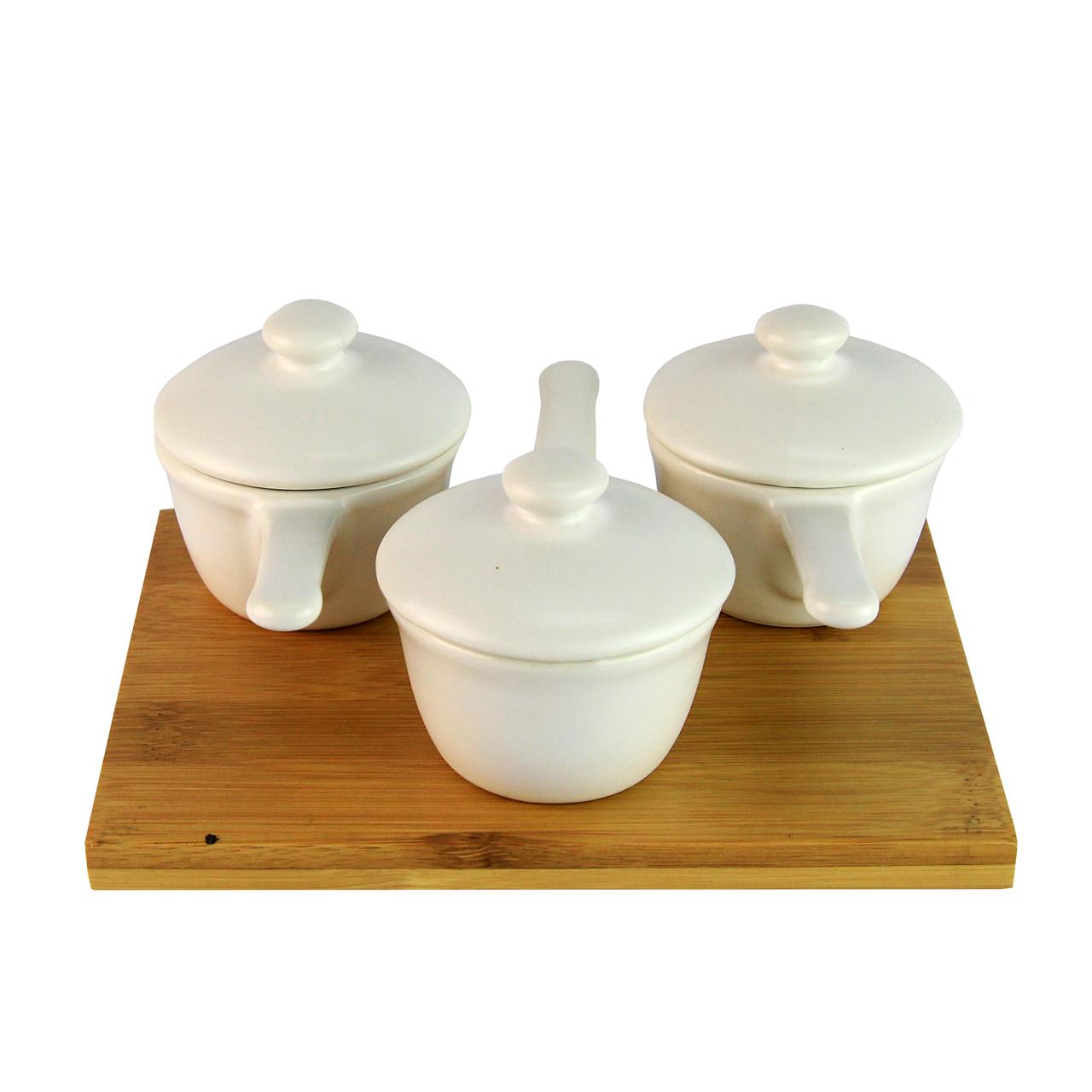 Tava Din Bambus Cu 3 Terine Cu Maner Din Ceramica