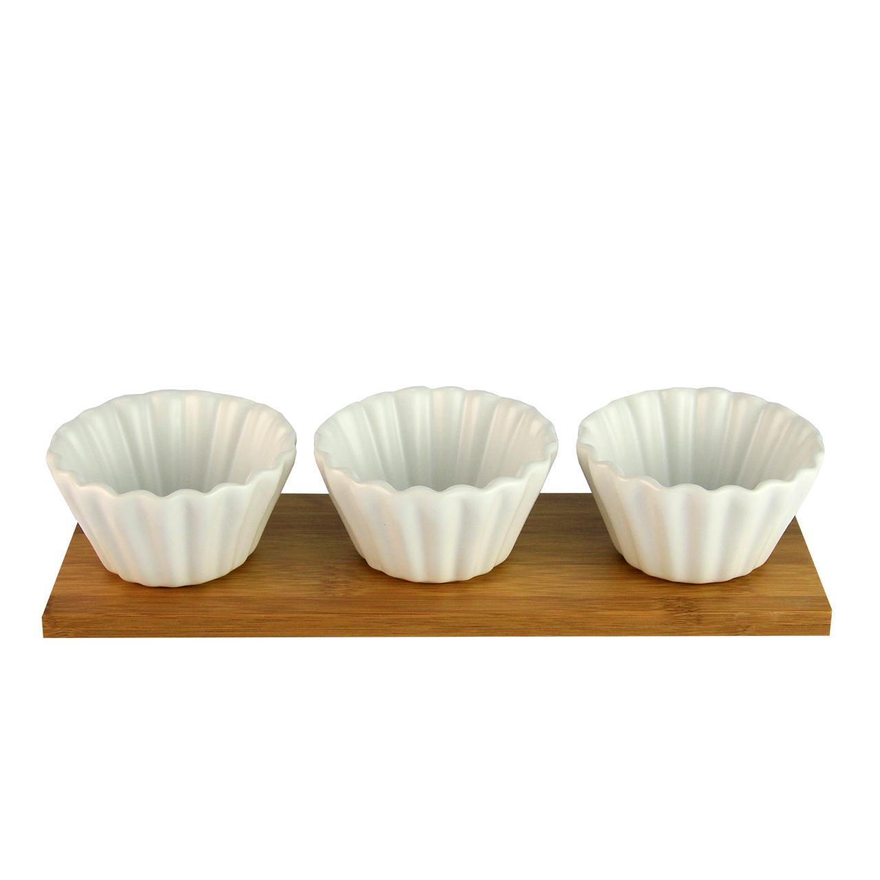 Tava Din Bambus Cu 3 Recipienti Din Ceramica Alba