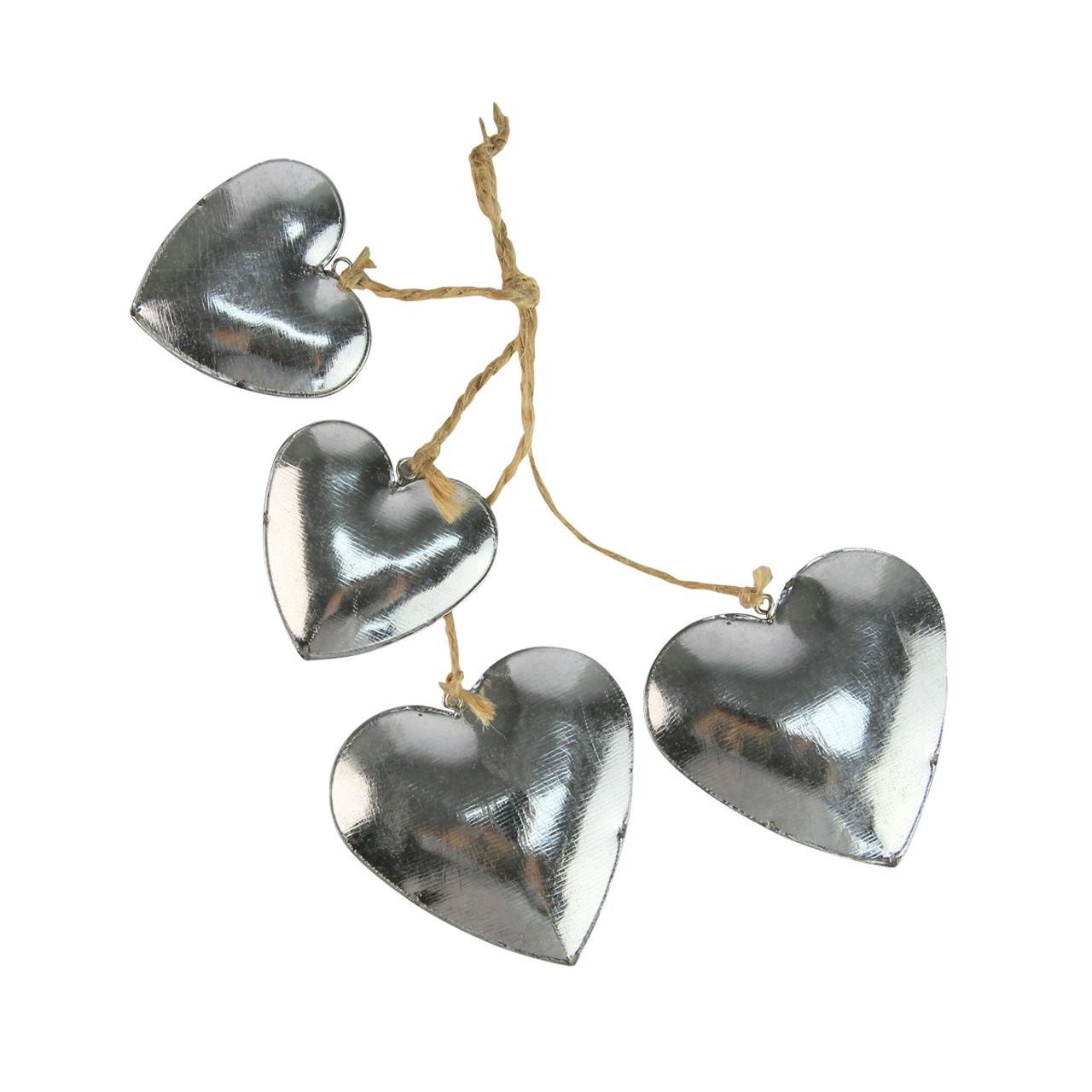 Ghirlanda Cu 4 Inimi Din Metal Argintiu 22 Cm