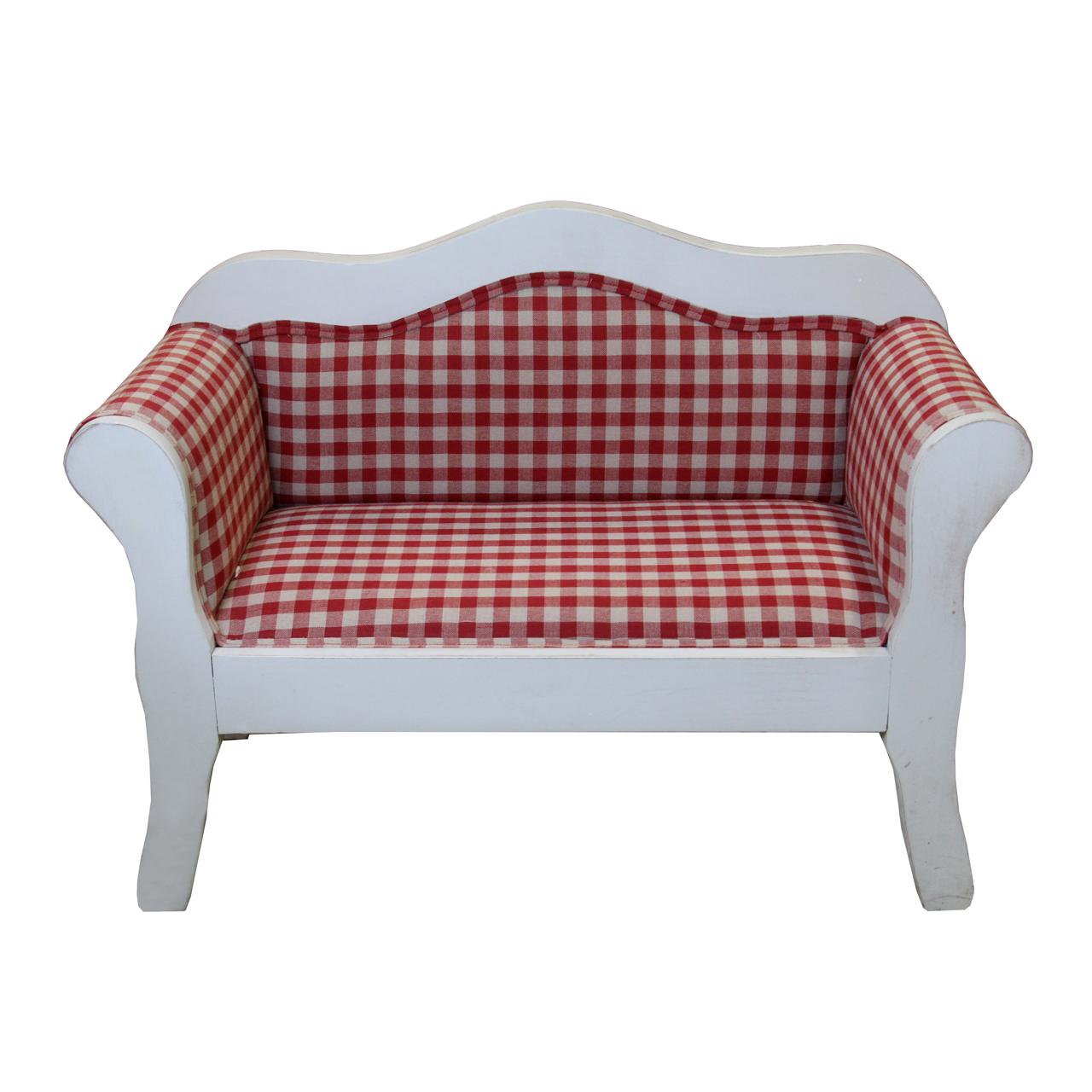 Canapea Pentru Copii Din Lemn Alb Si Tapiterie Rosu Pepit 41 Cm
