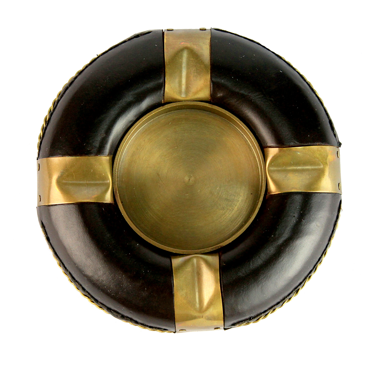 Scrumiera Rotunda Din Piele Maro Si Metal Auriu