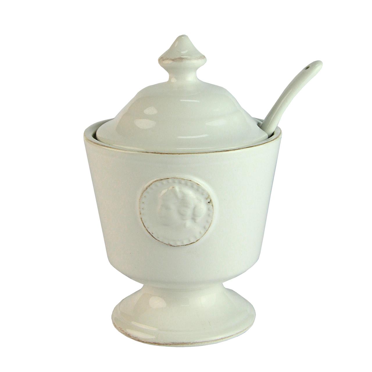 Recipient Pentru Zahar Cu Lingurinta Din Ceramica Alba
