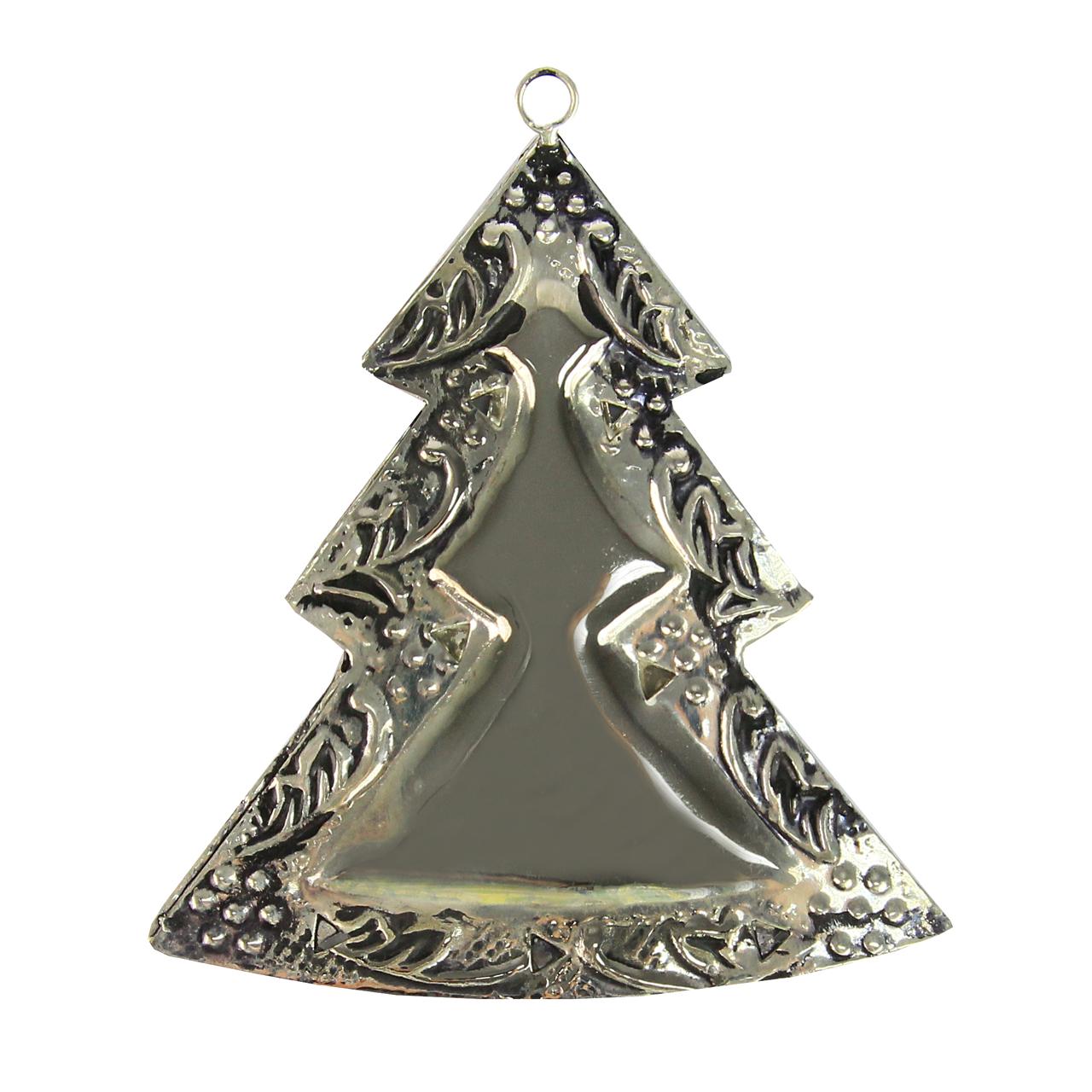 Decoratiune Brad Din Metal Argintiu 11 Cm