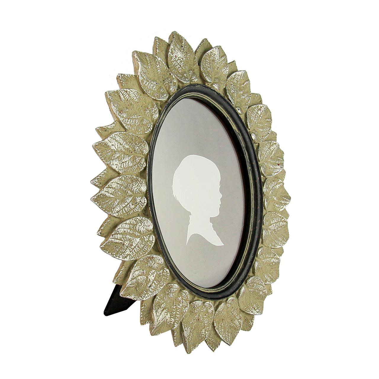 Rama Foto Ovala Argintie Cu Frunze 24x19 Cm