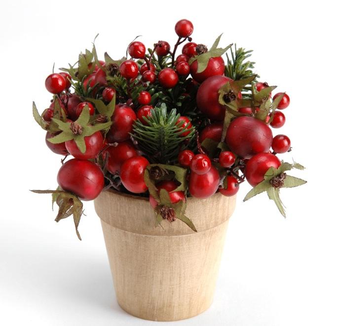 Floare Artificiala Merisoare In Ghiveci 15 Cm