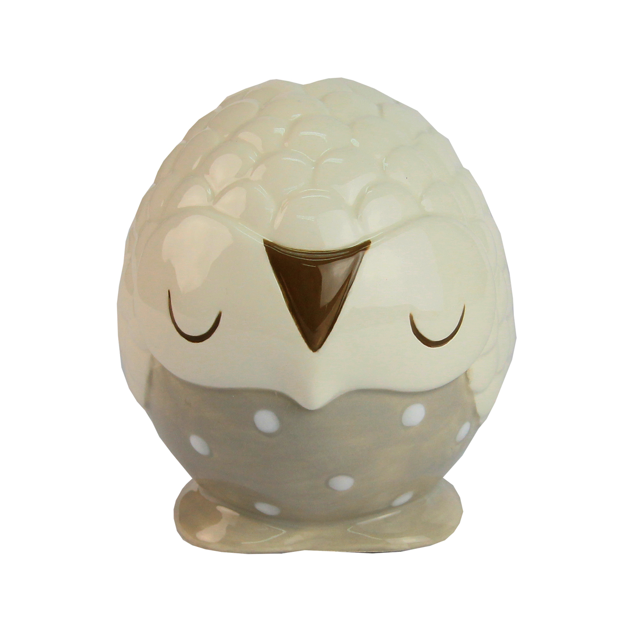 Pusculita Bufnita Din Ceramica Alb Cu Maro