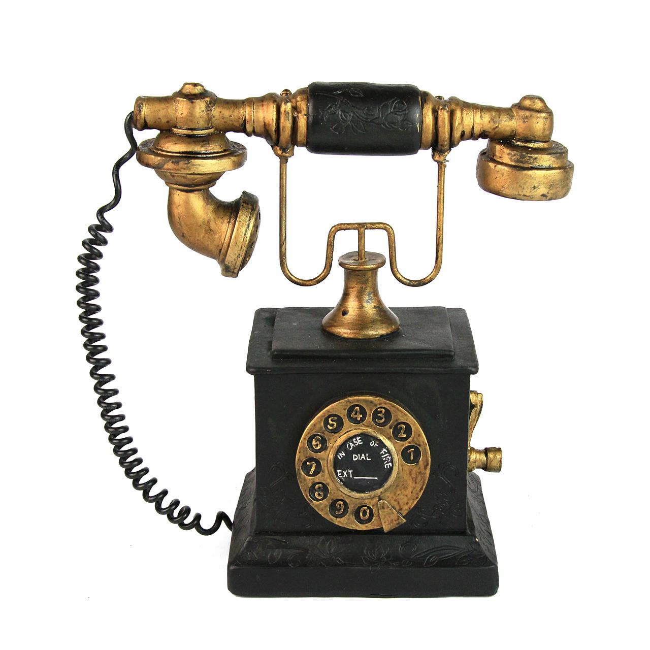 Pusculita Telefon Neagra Cu Aramiu 11x11x20 Cm