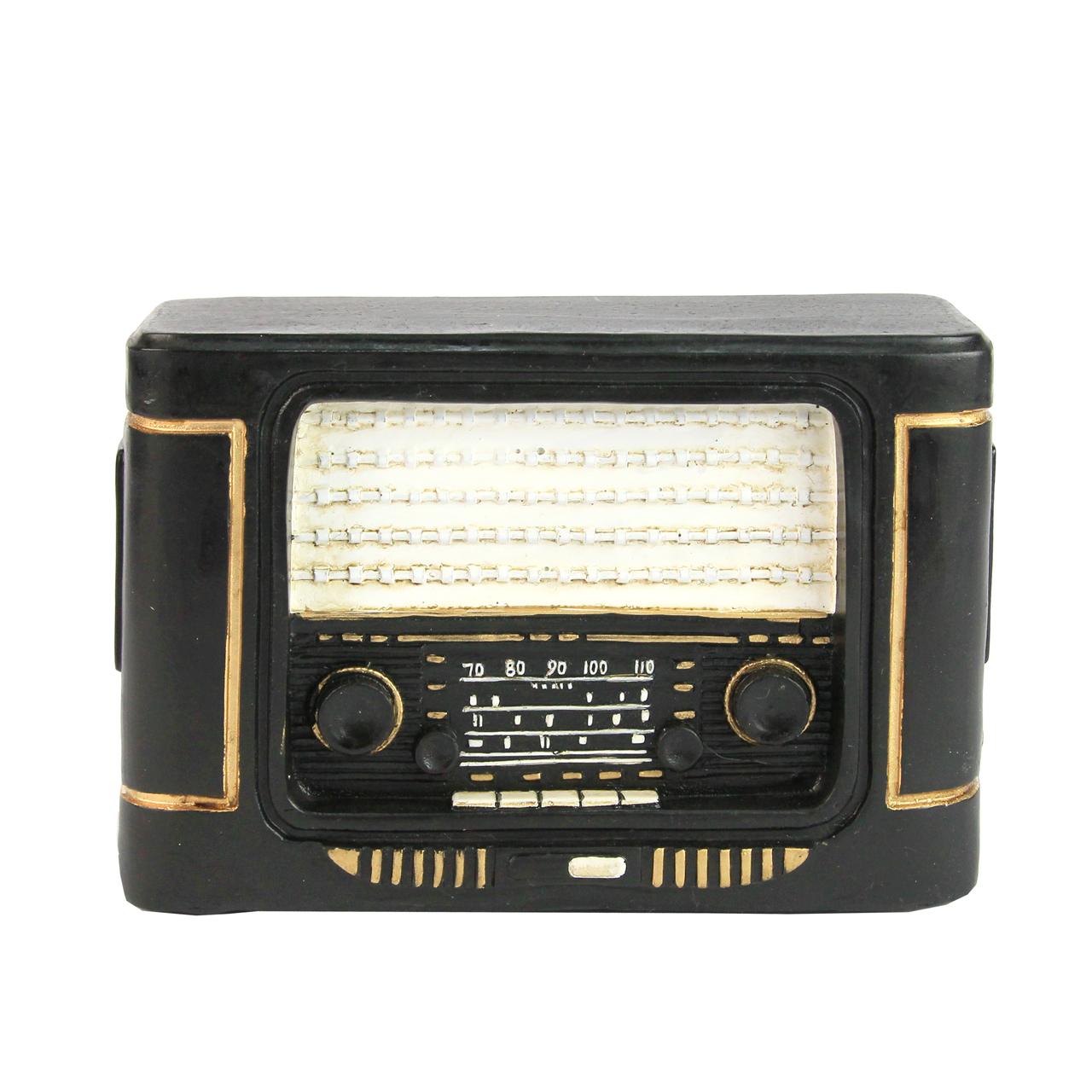 Pusculita Radio Neagra Cu Alb 16x6x11 Cm