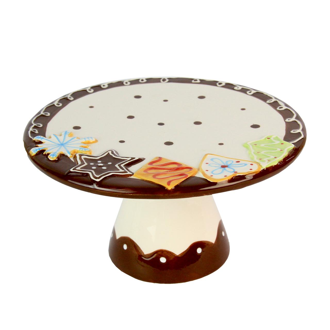 Platou Cu Picior Din Ceramica Alb Cu Maro Pentru P