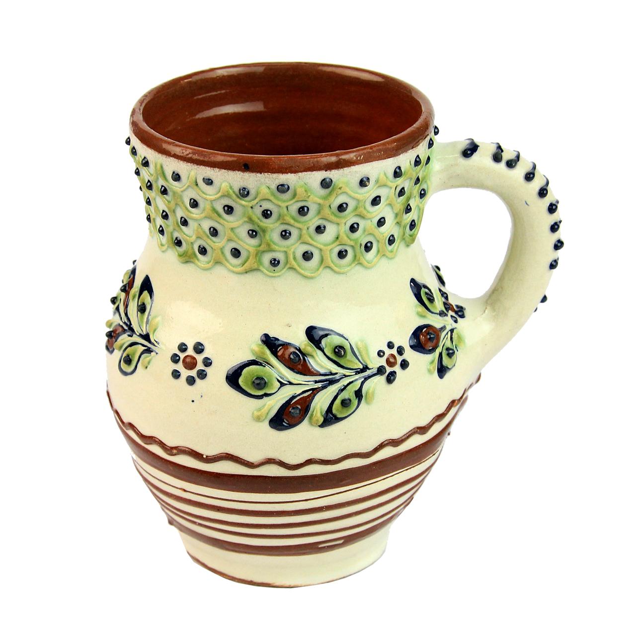 Cana De Vin Din Ceramica Bej Cu Maro