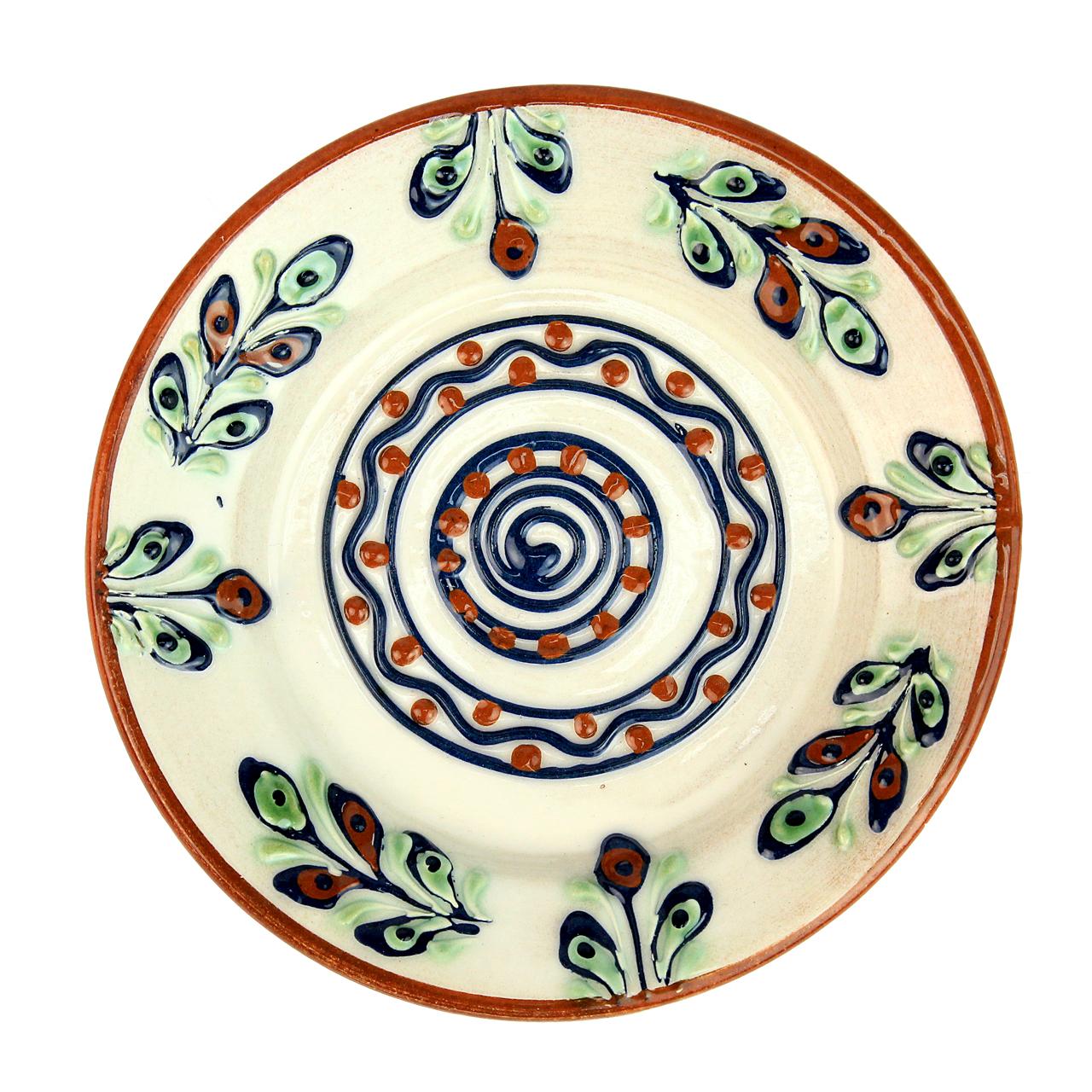 Farfurie Din Ceramica Bej Cu Maro 15 Cm