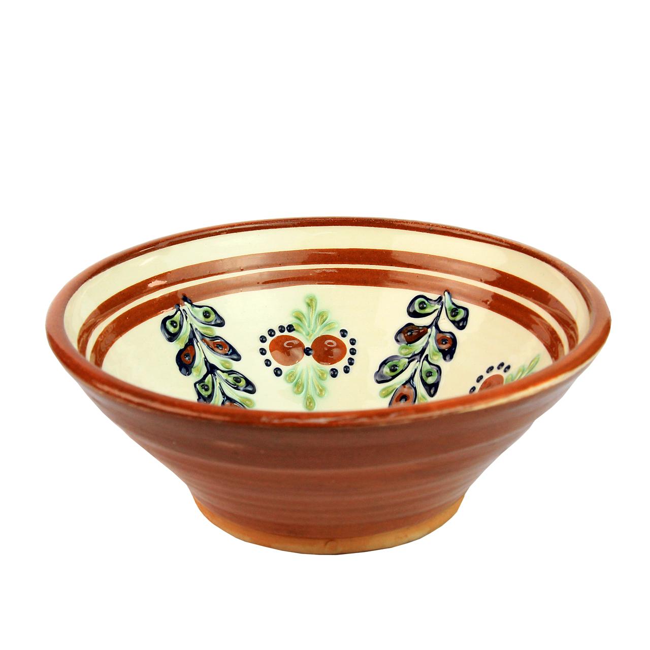 Castron Din Ceramica Bej Cu Maro 18 Cm