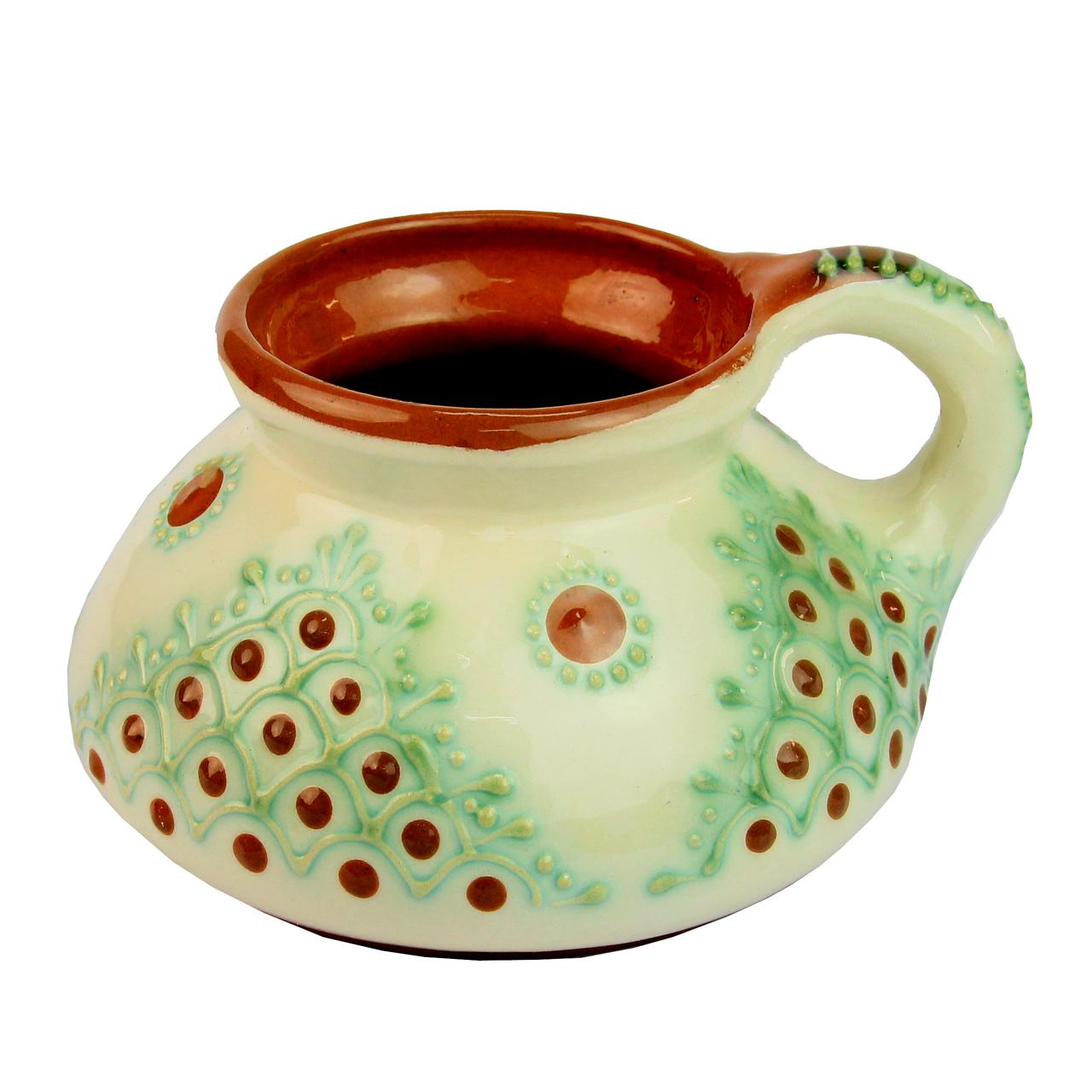 Cana Din Ceramica Bej Cu Maro 13 Cm