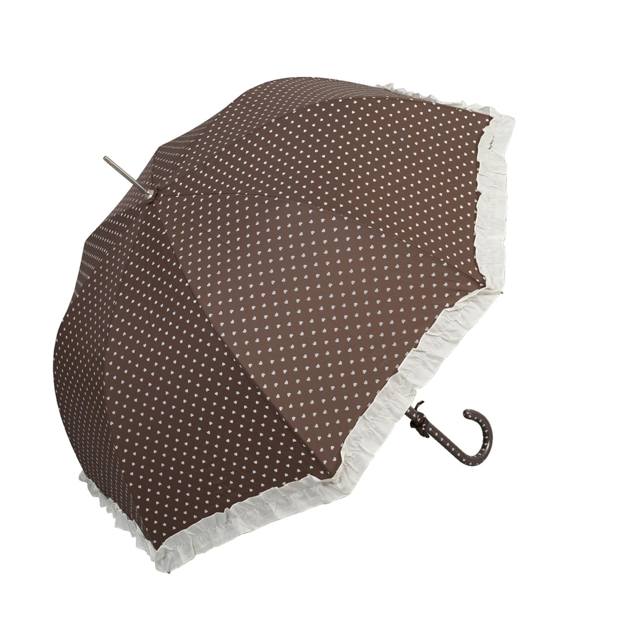 Umbrela Cu Inimioare Din Textil Maro