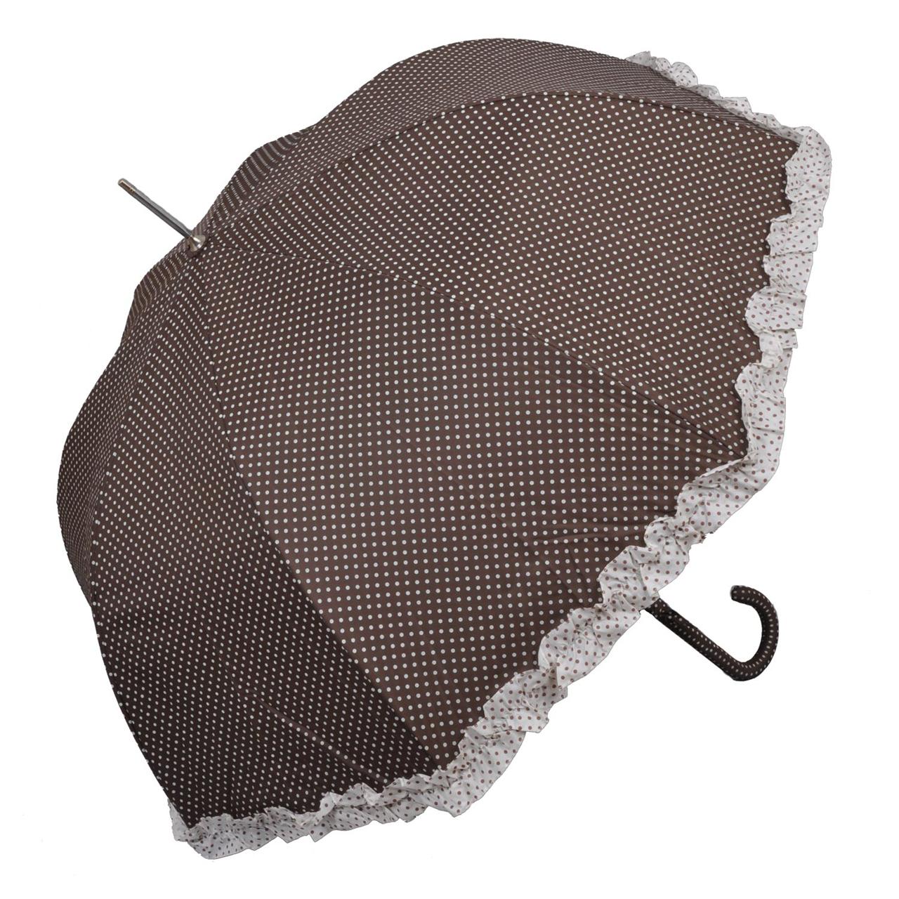 Umbrela Cu Buline Din Textil Maro