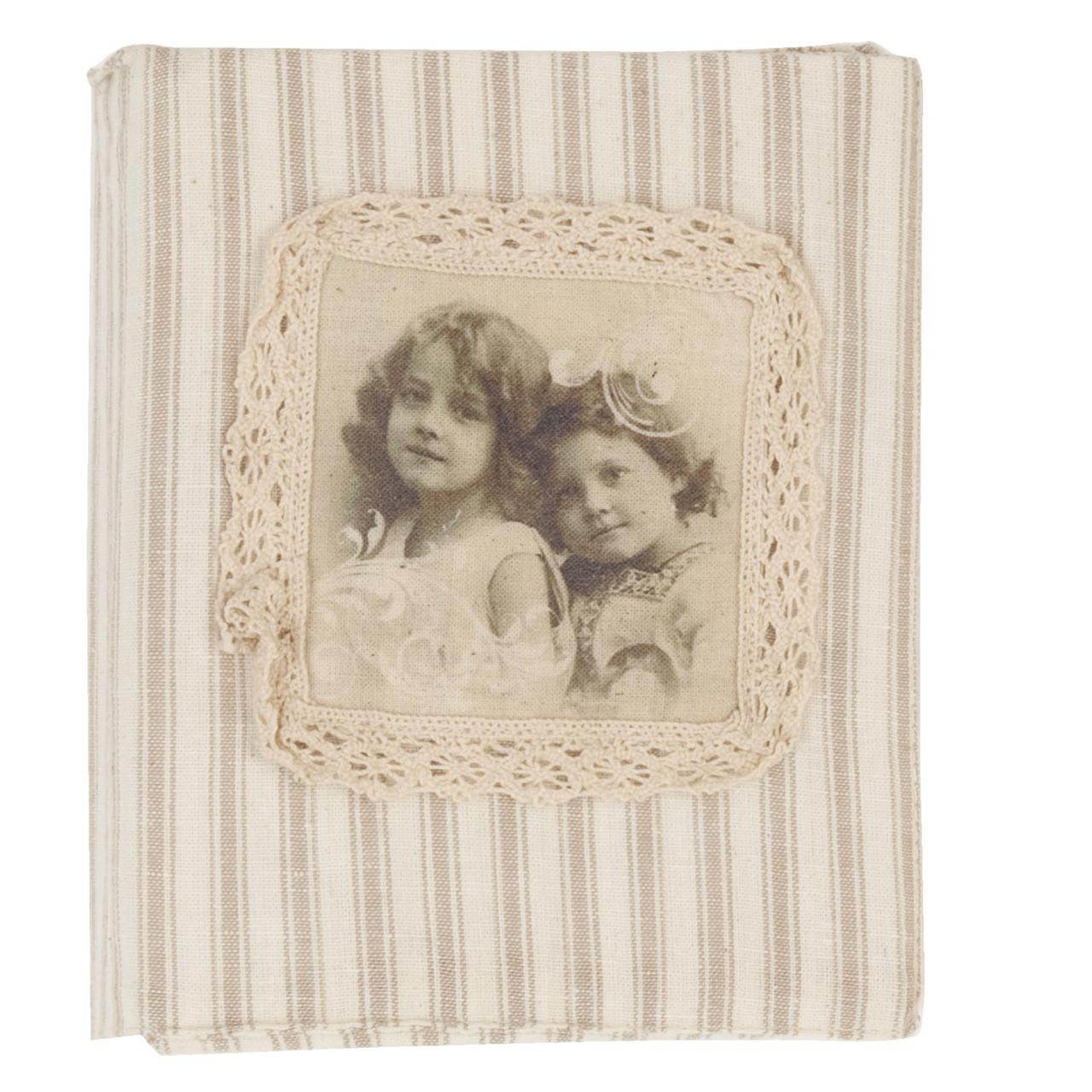 Album Foto Din Carton Si Textil Natur Cu Dungi Si Dantela 17x13 Cm