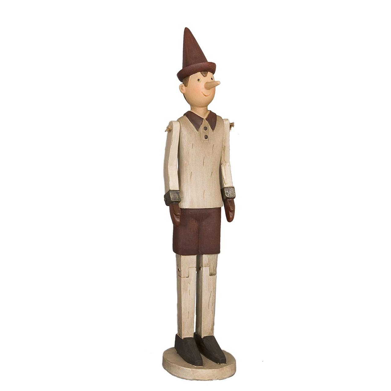Statueta Pinochio Din Lemn Bej Cu Rosu 19.5 Cm