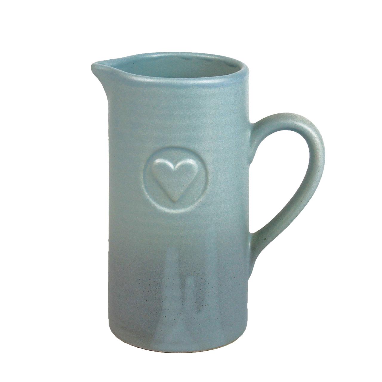 Carafa Din Ceramica Albastra Cu Inima