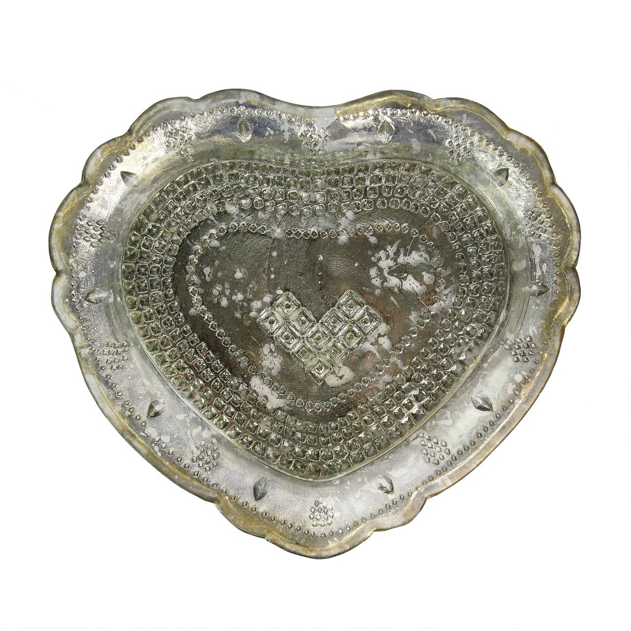 Farfurie Inima Din Sticla Argintie 15 Cm