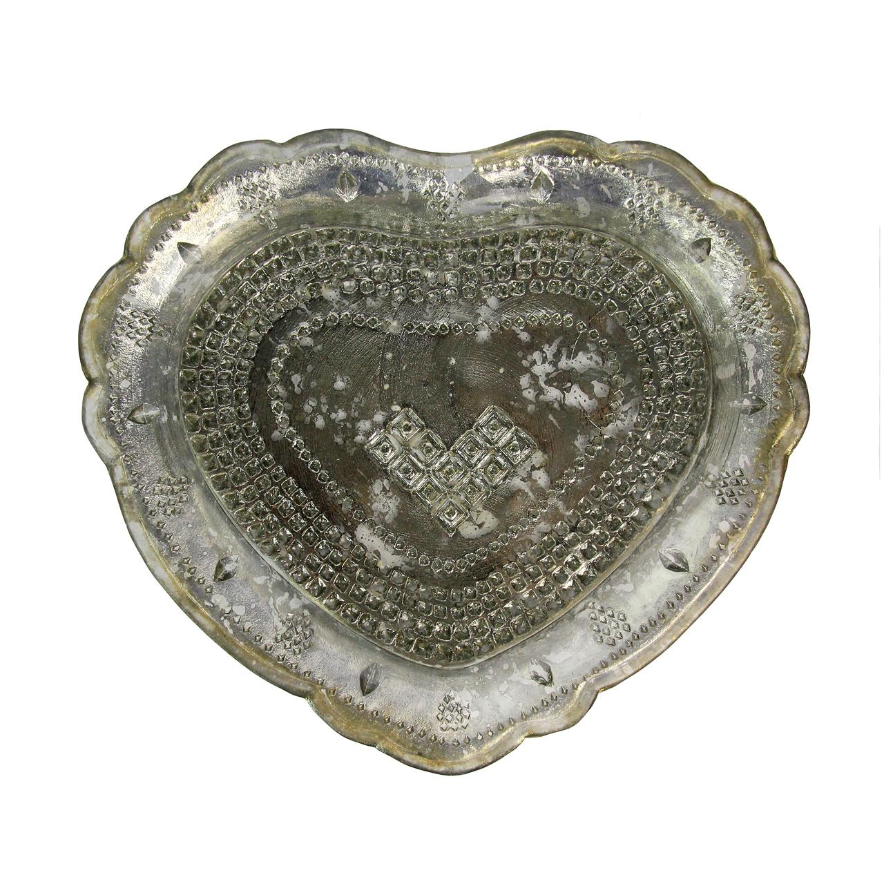 Farfurie Inima Din Sticla Argintie 25 Cm