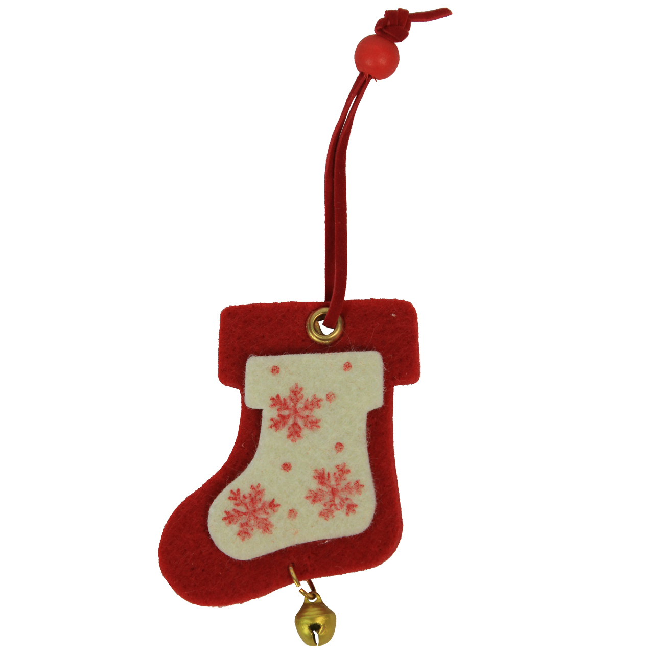 Decoratiune Ciorap De Craciun Din Textil Rosu Cu Alb 7 Cm