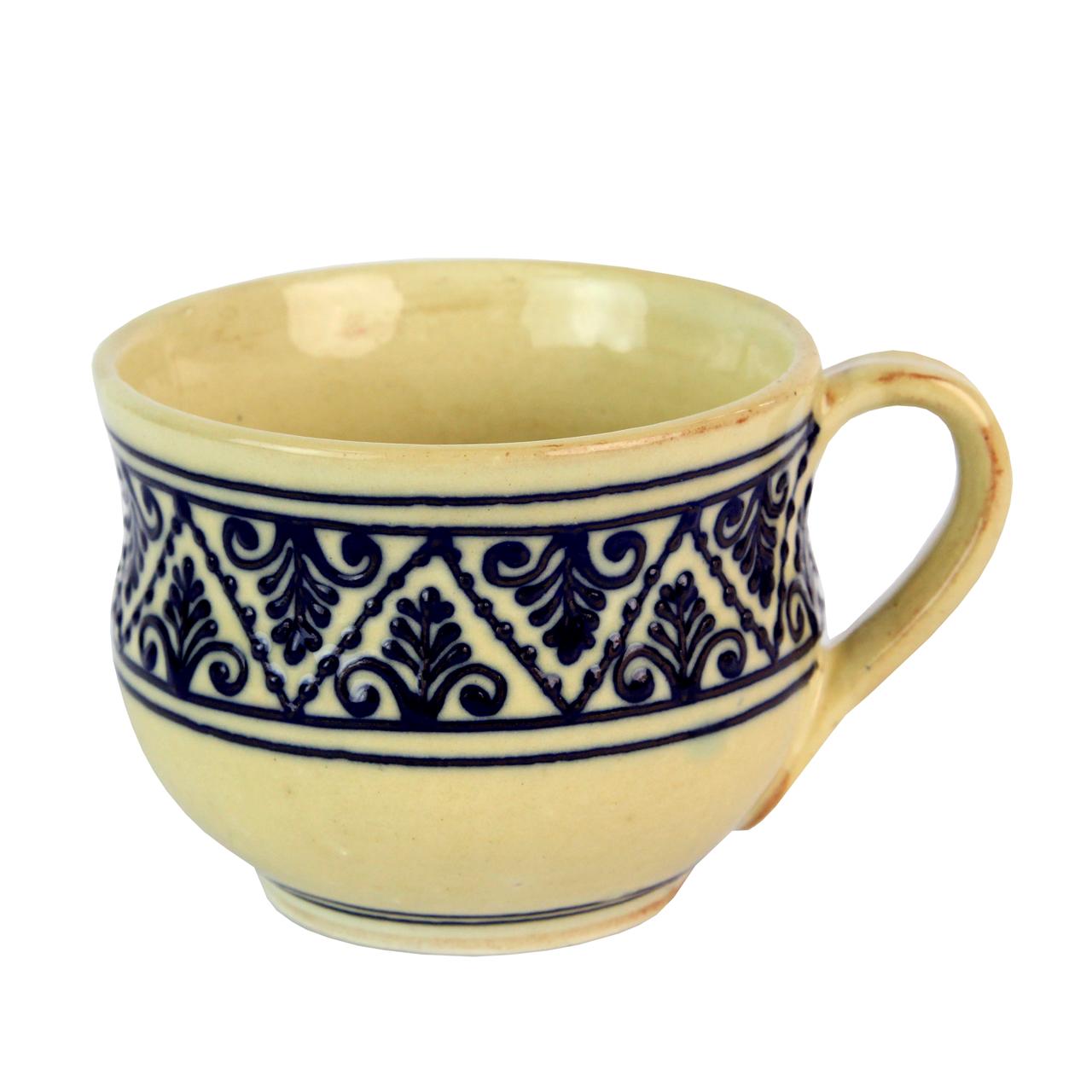 Cana Din Ceramica Bej Cu Albastru