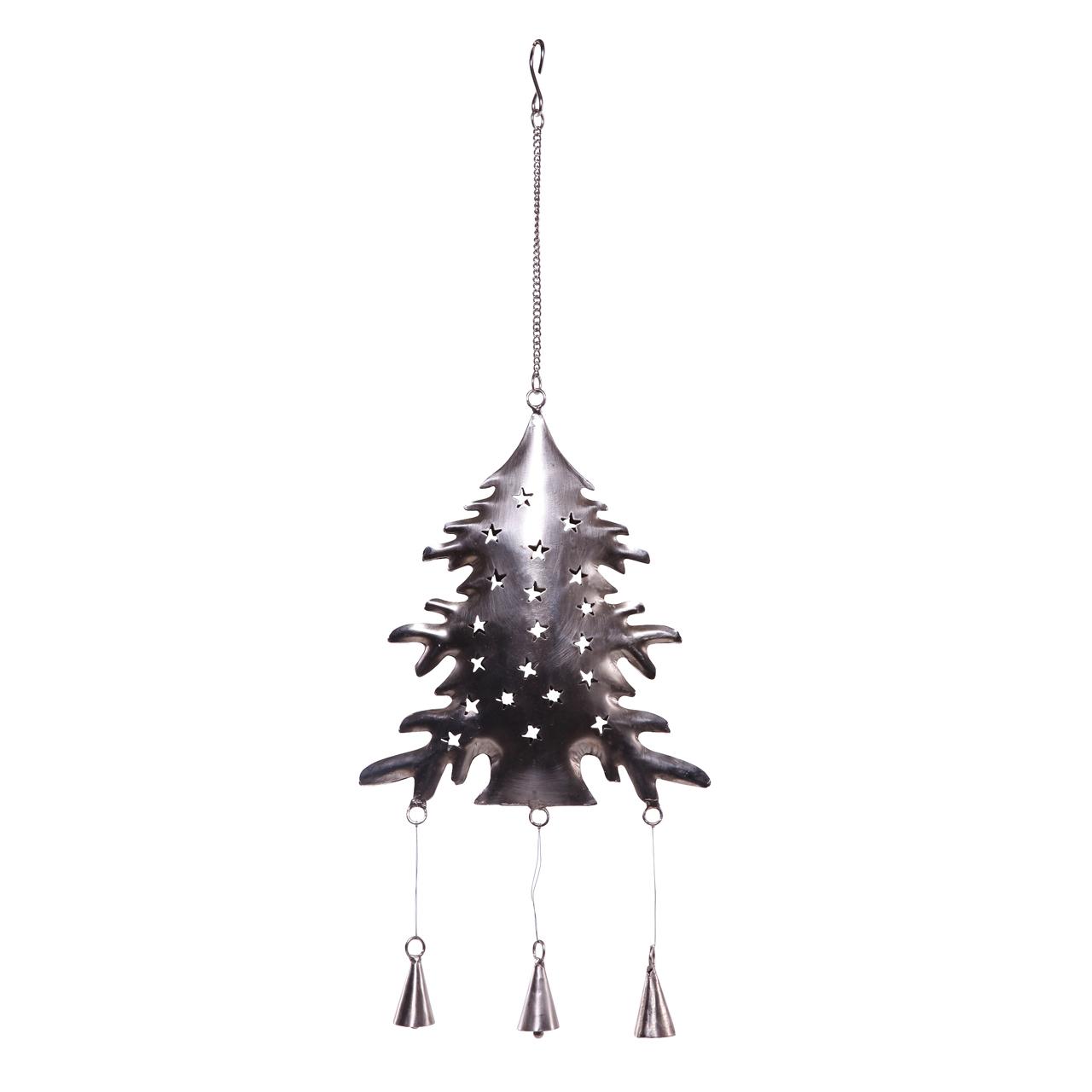 Decoratiune Brad Din Metal Argintiu 55 Cm