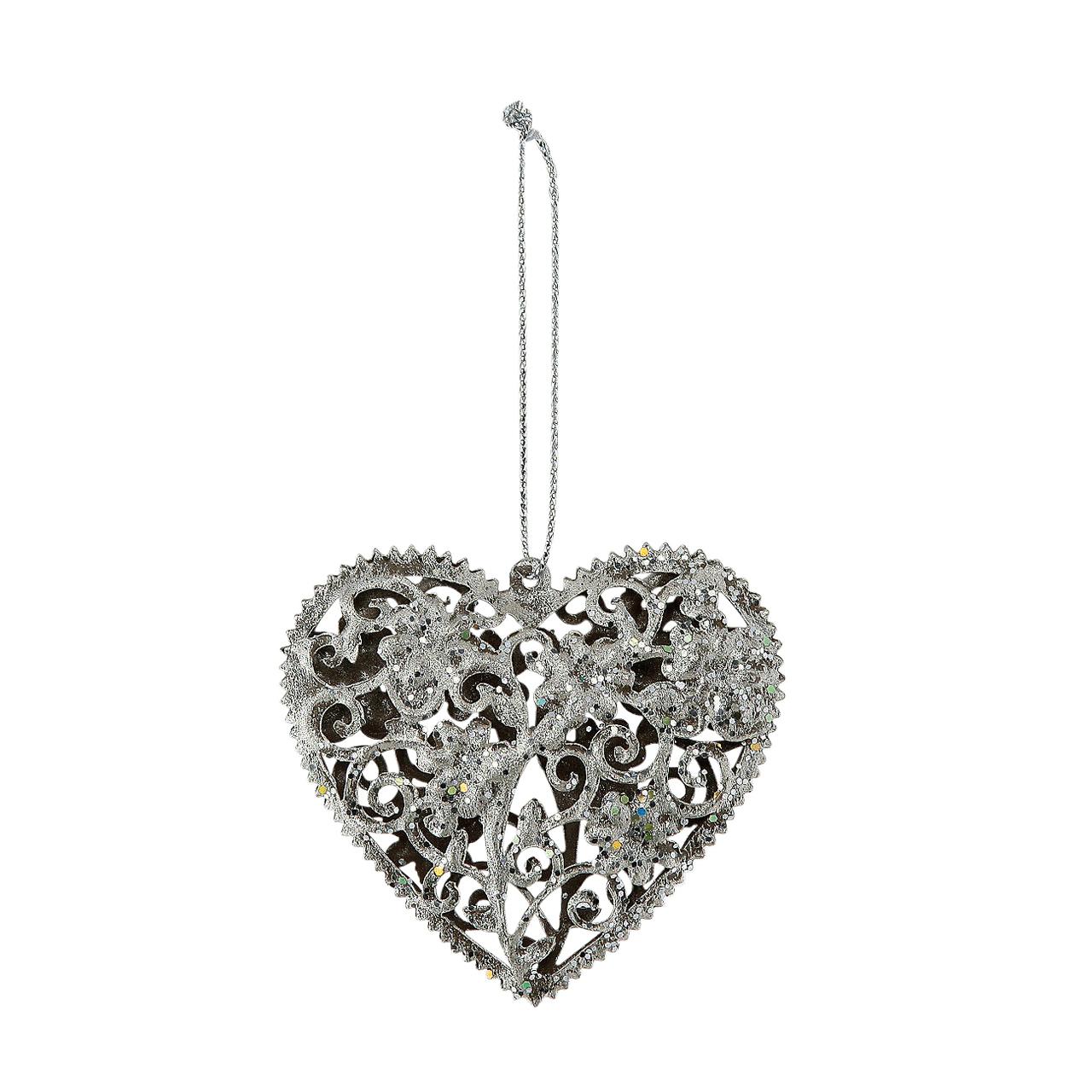 Decoratiune Inima Din Metal Argintiu 6 Cm