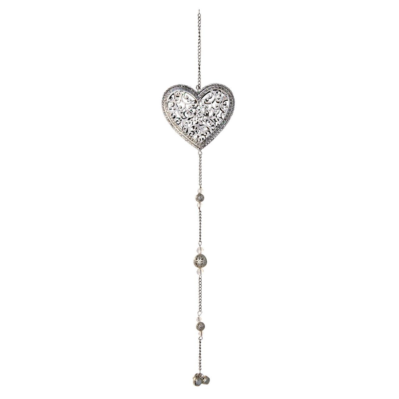 Decoratiune Inima Din Metal Argintiu 45 Cm