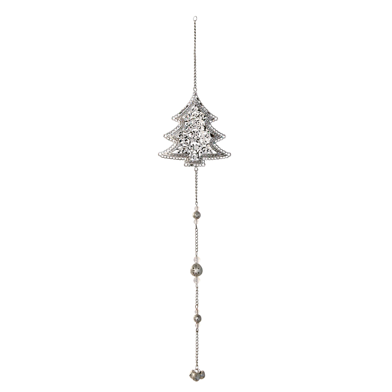 Decoratiune Brad Din Metal Argintiu 40 Cm