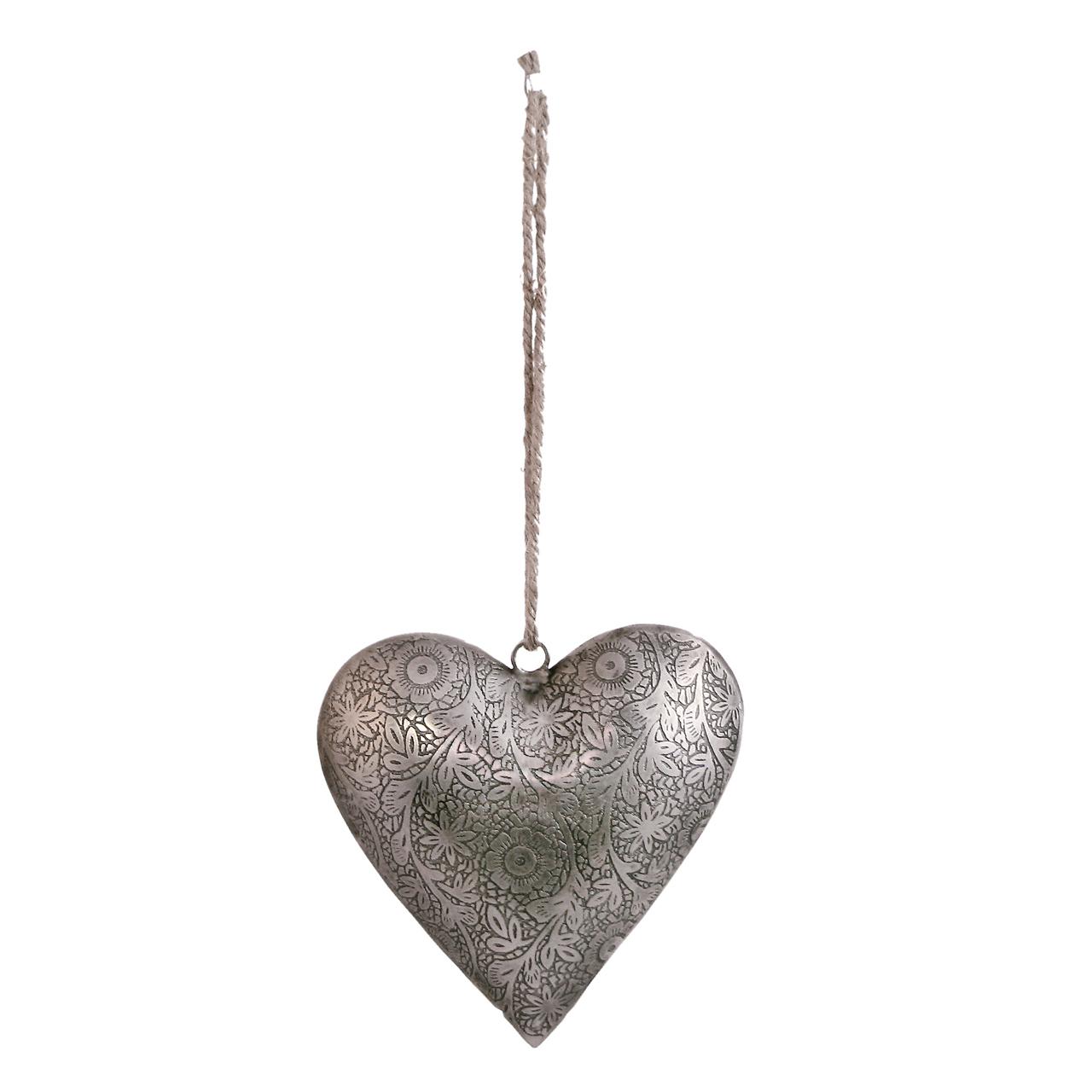 Decoratiune Inima Din Metal Argintiu 15 Cm
