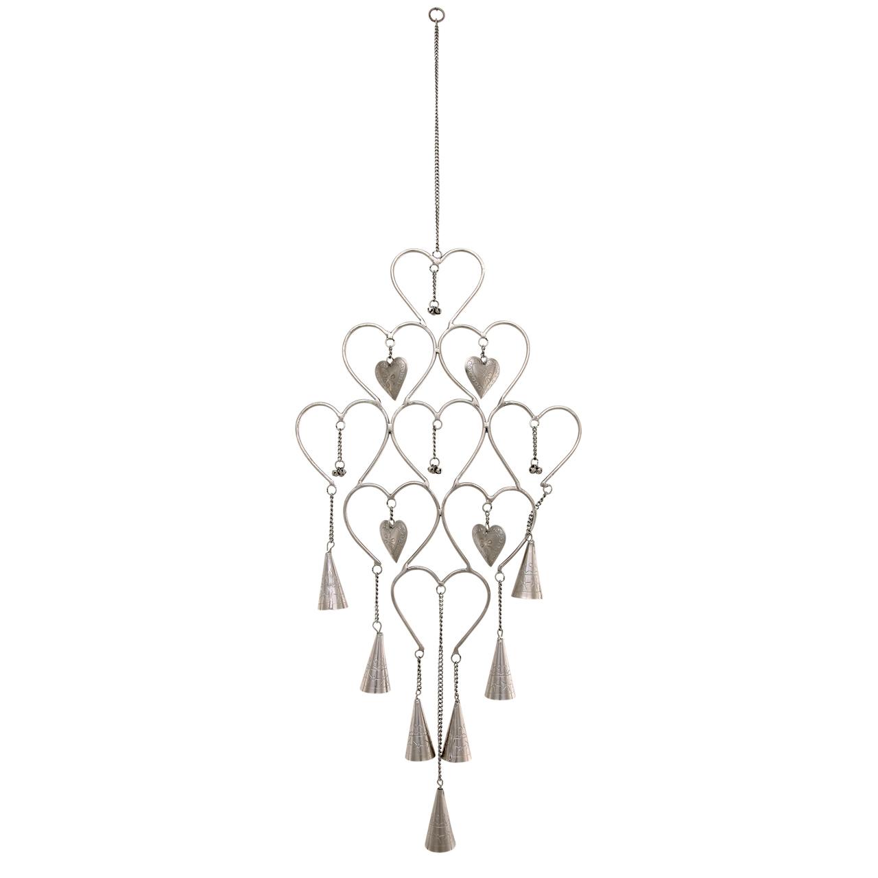 Decoratiune Inimi Cu Clopotei Din Metal Argintiu 8