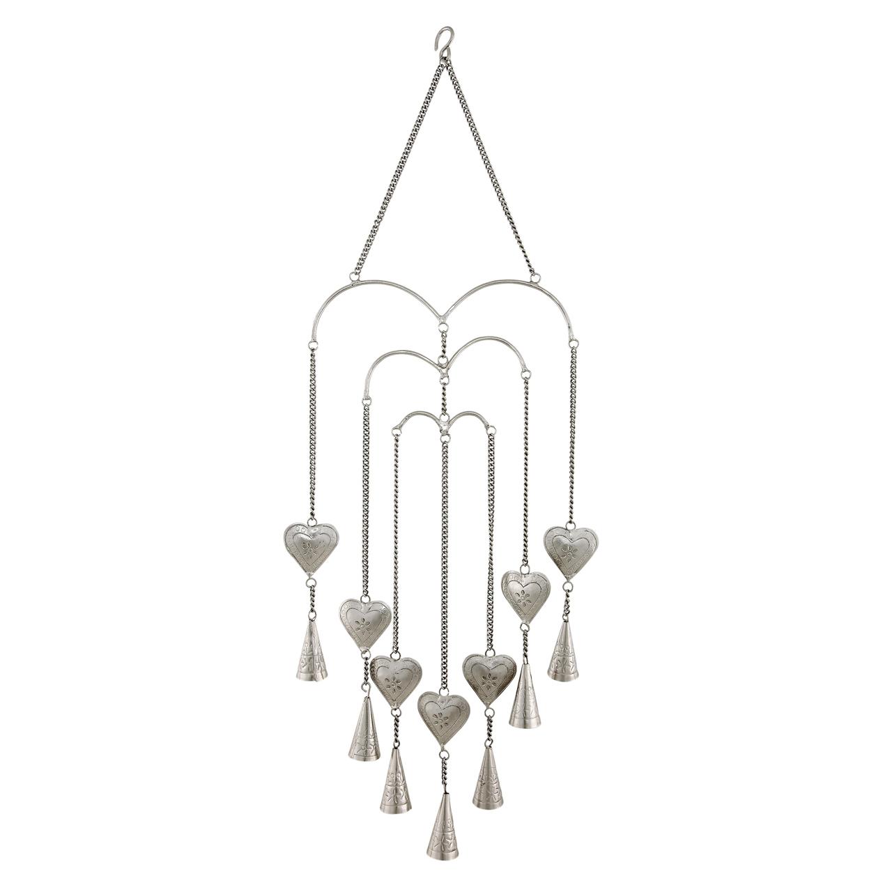 Decoratiune Inimi Cu Clopotei Din Metal Argintiu 7