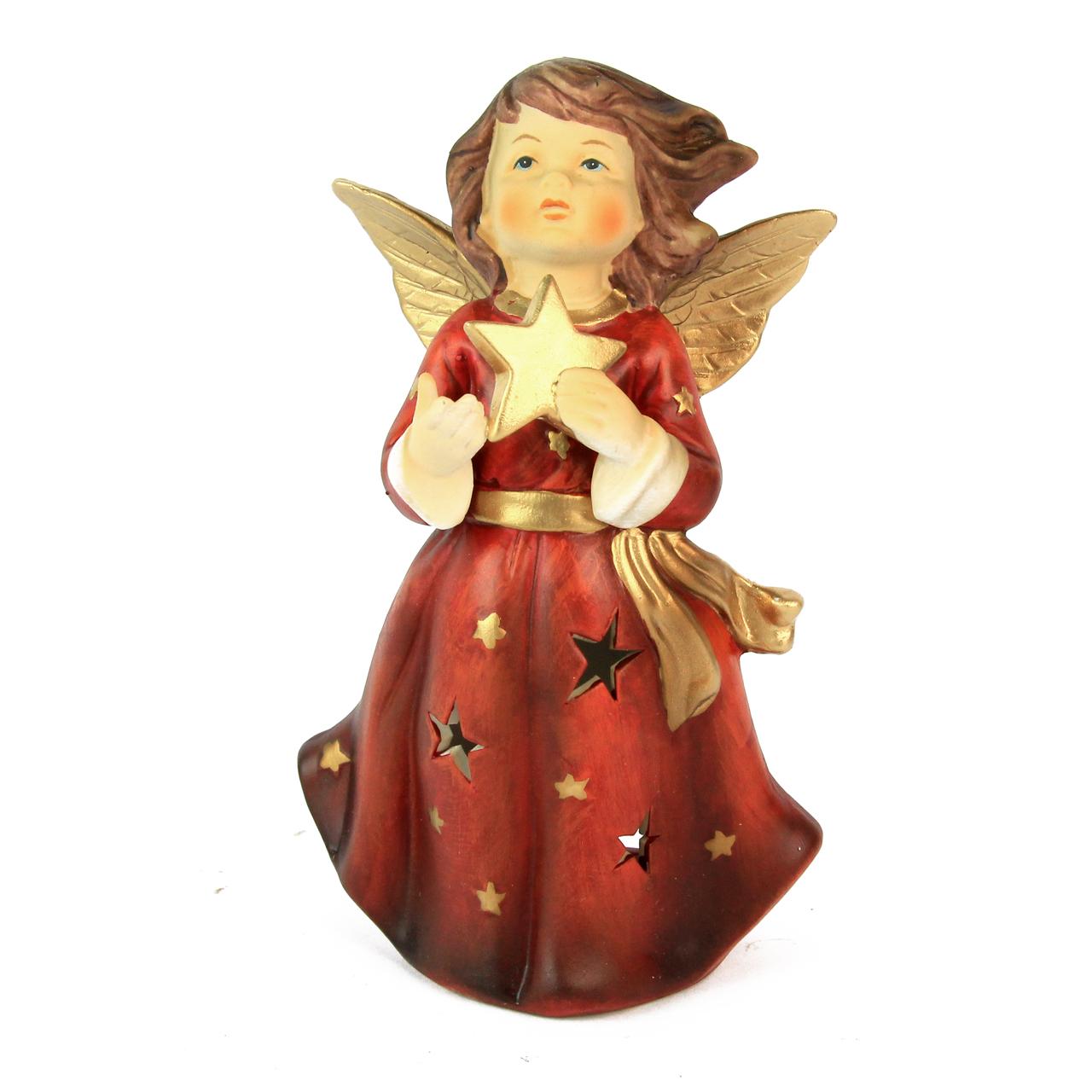 Decoratiune Inger Cu Stea Din Ceramica Rosie 18 Cm