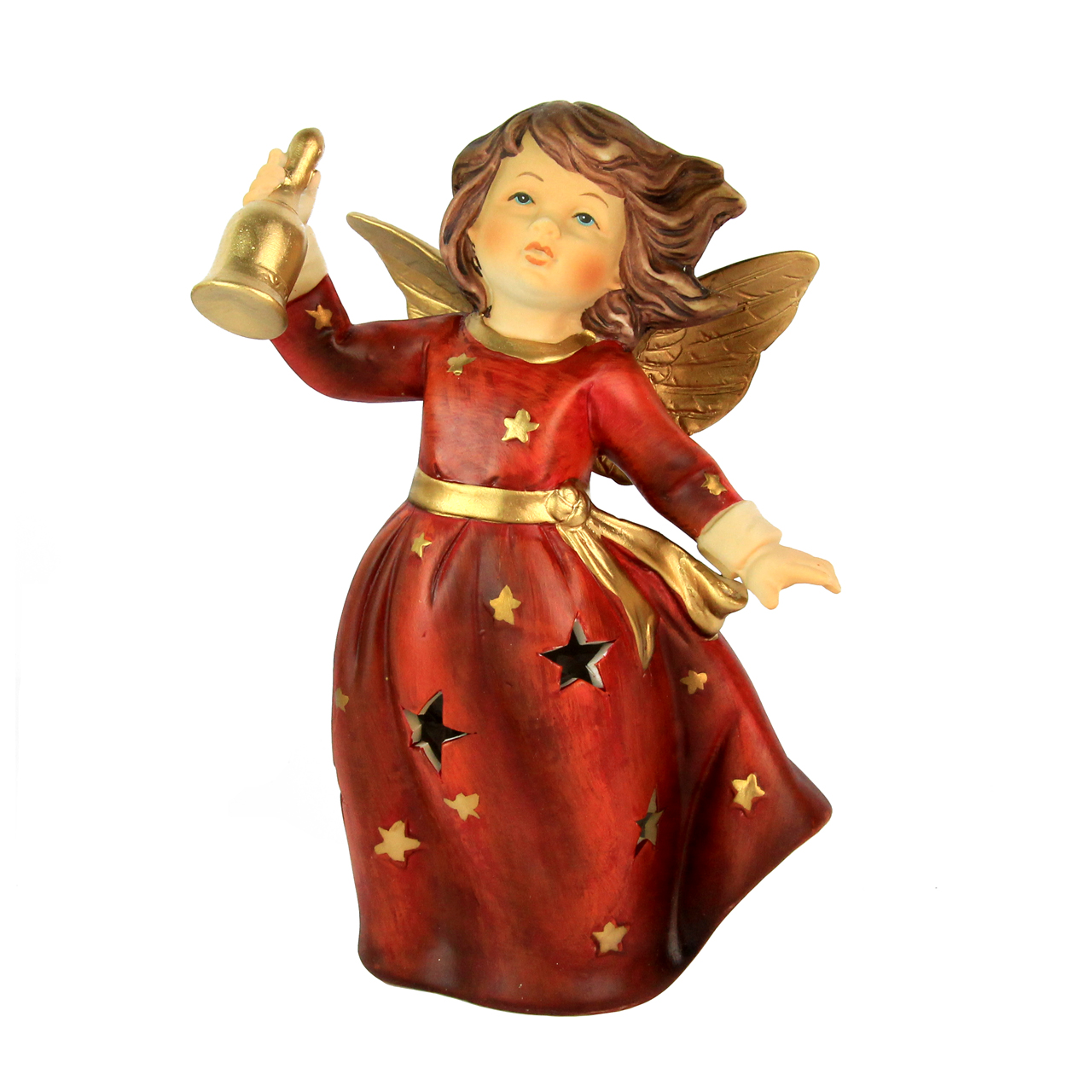 Decoratiune Inger Cu Clopotel Din Ceramica Rosie 18 Cm