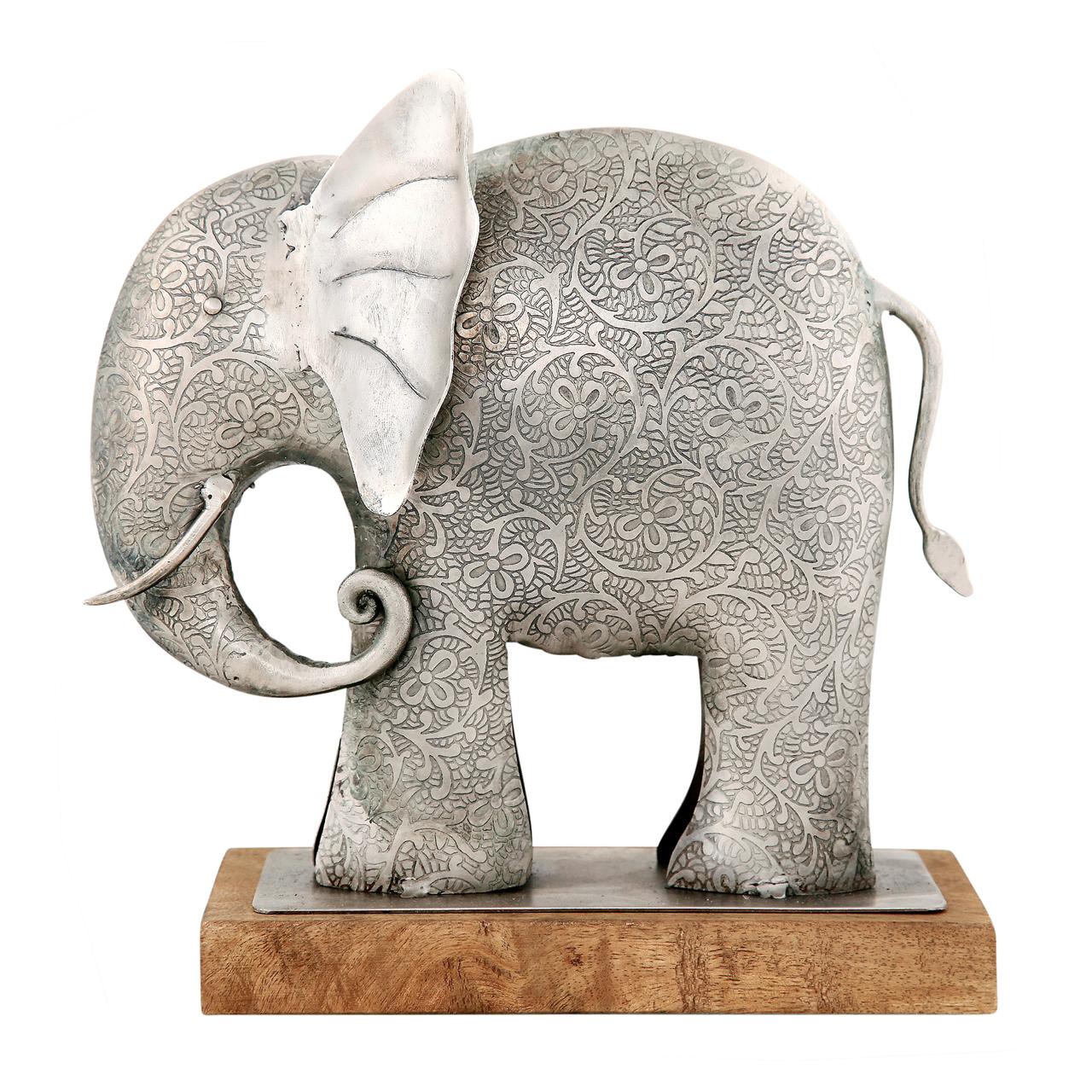 Statueta Elefant Din Lemn Si Metal Argintiu 27 Cm