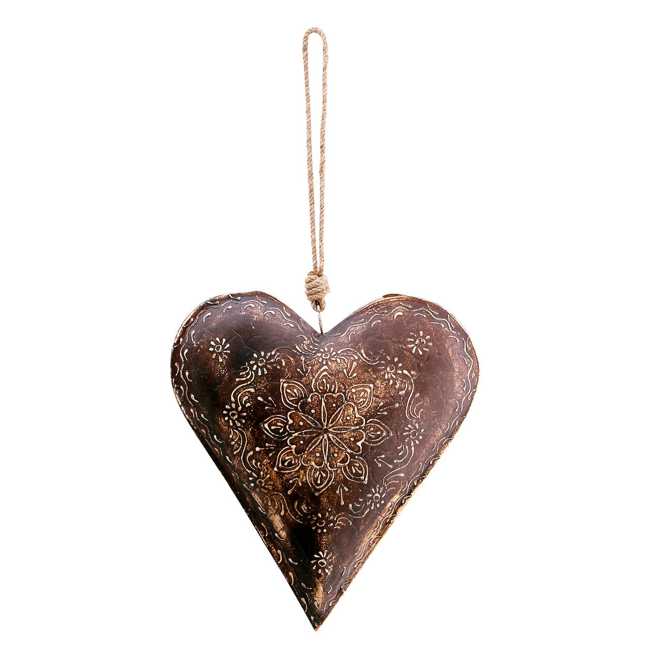 Decoratiune Inima Din Metal Maro 22 Cm