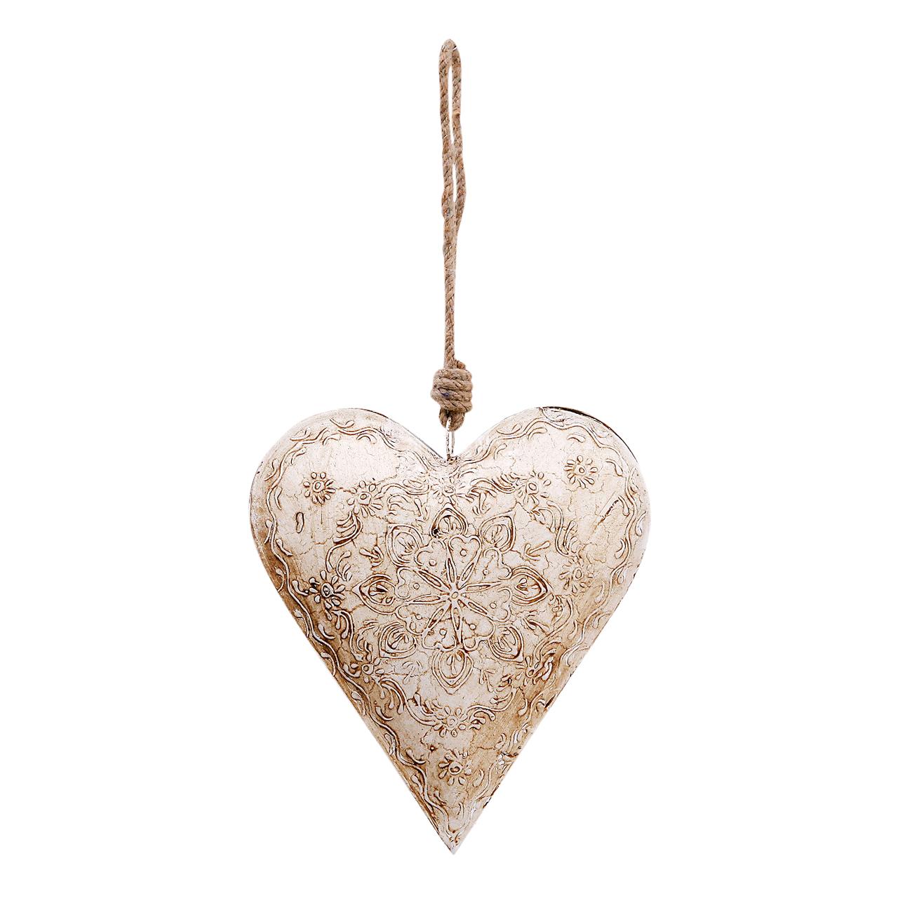 Decoratiune Inima Din Metal Alb 16 Cm